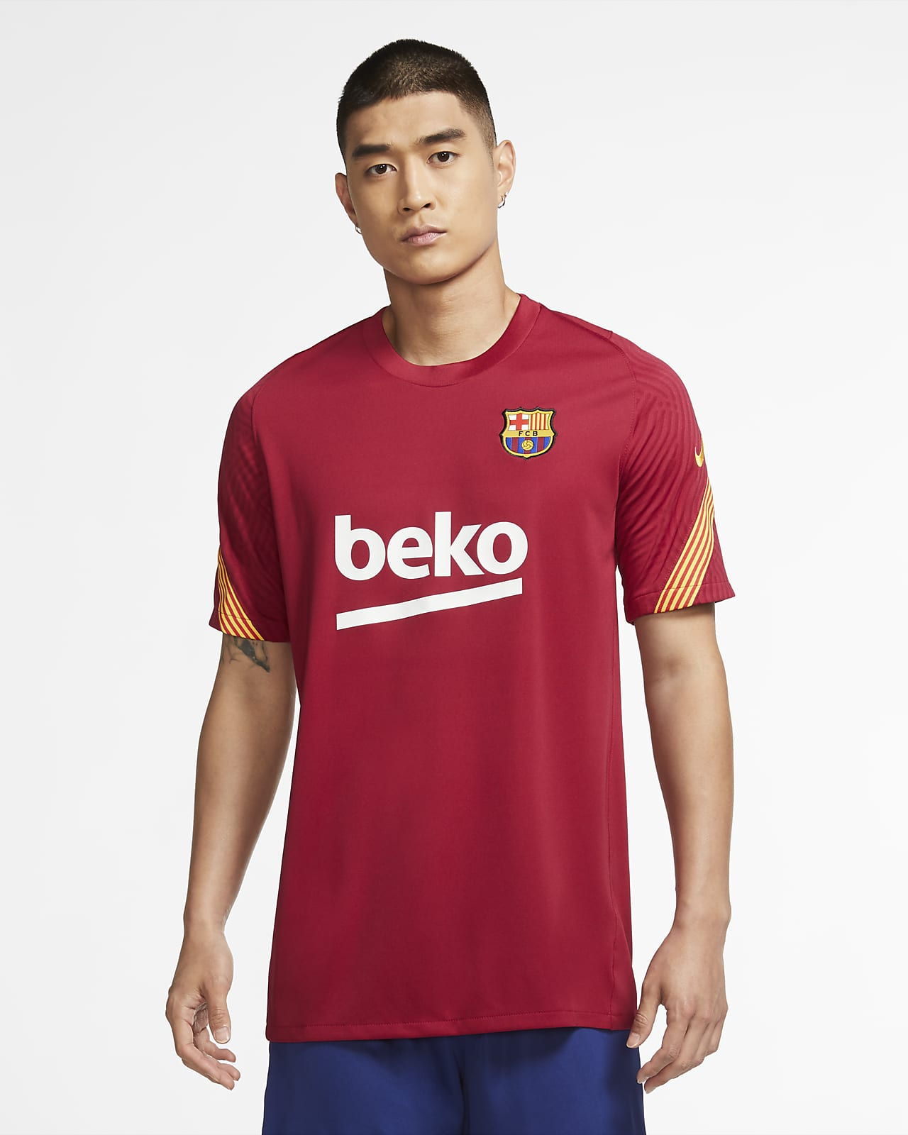 Haut de football à manches courtes FC Barcelona Strike pour Homme