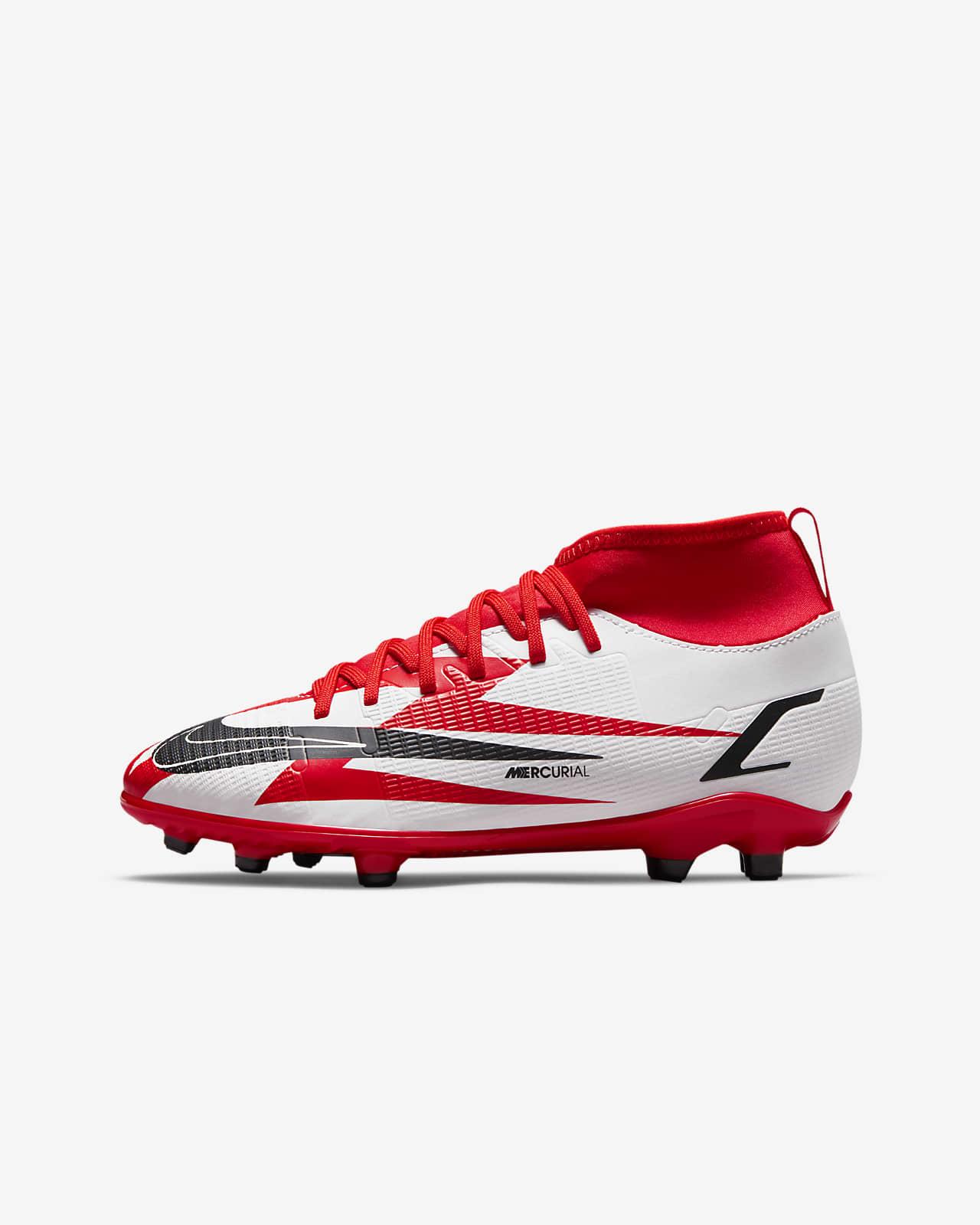 รองเท้าสตั๊ดฟุตบอลเด็กเล็ก/เด็กโตสำหรับพื้นหลายประเภท Nike Jr. Mercurial Superfly 8 Club CR7 MG