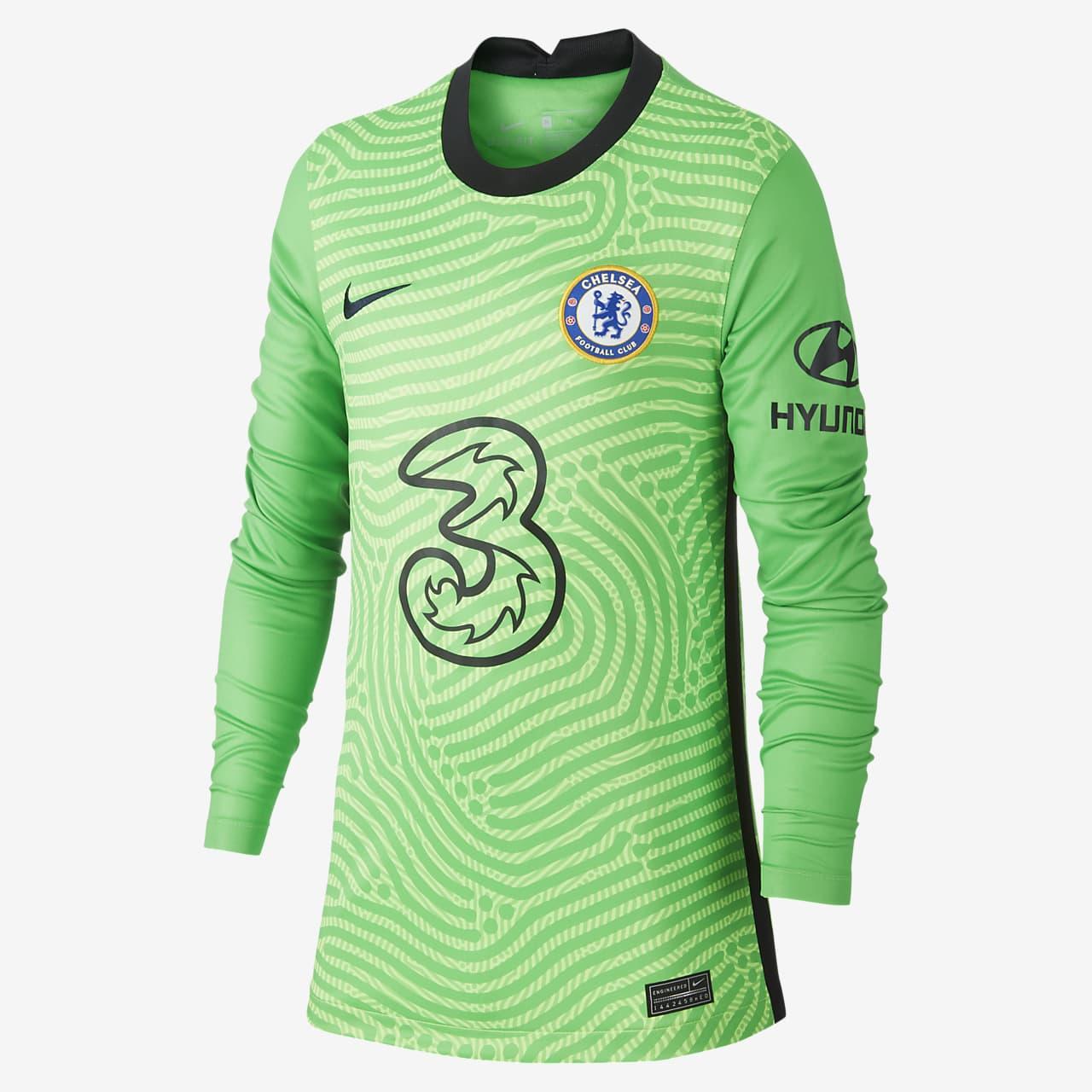 Brankářský fotbalový dres Chelsea FC Stadium 2020/21 s dlouhým rukávem pro větší děti