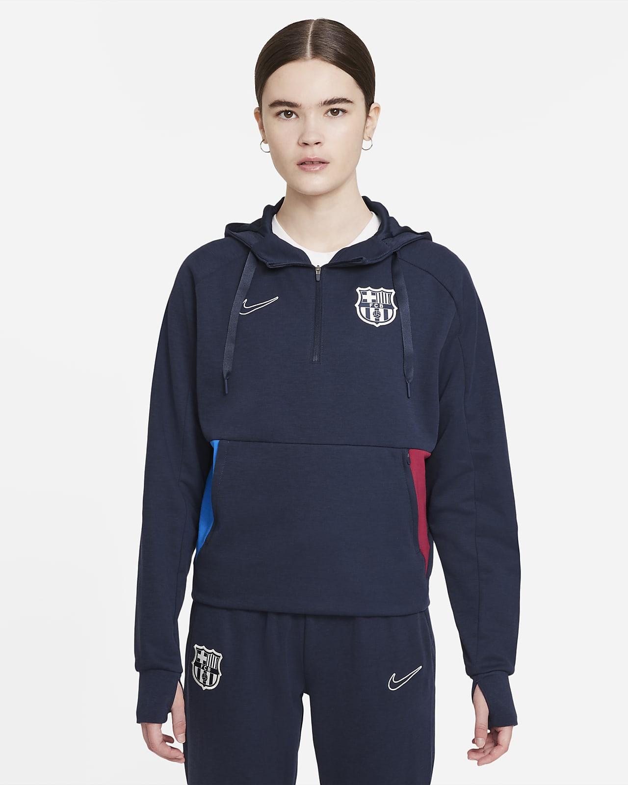FC Barcelona Dessuadora amb caputxa i cremallera d'un quart de teixit Fleece de futbol - Dona