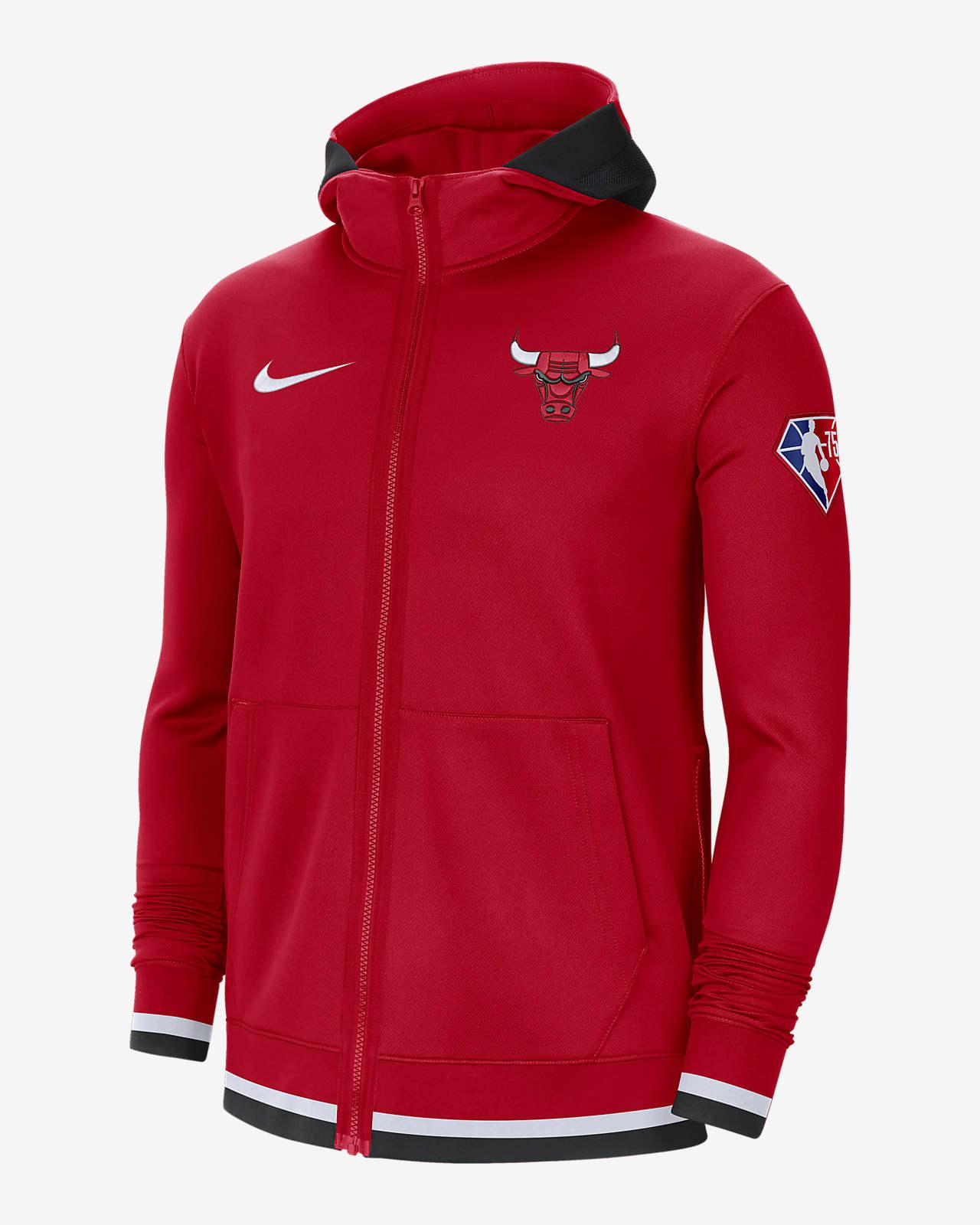 Sweat à capuche et zip Nike Dri-FIT NBA Chicago Bulls Nike Showtime pour Homme