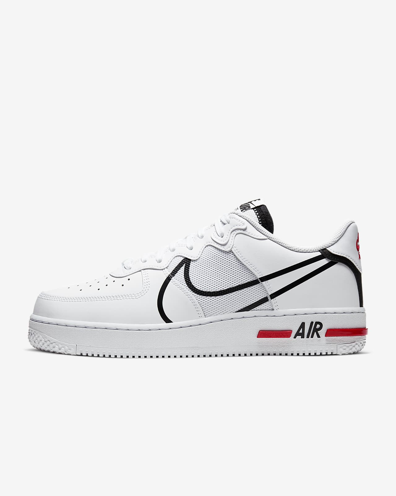 Soldes > air force one react blanche et rouge > en stock