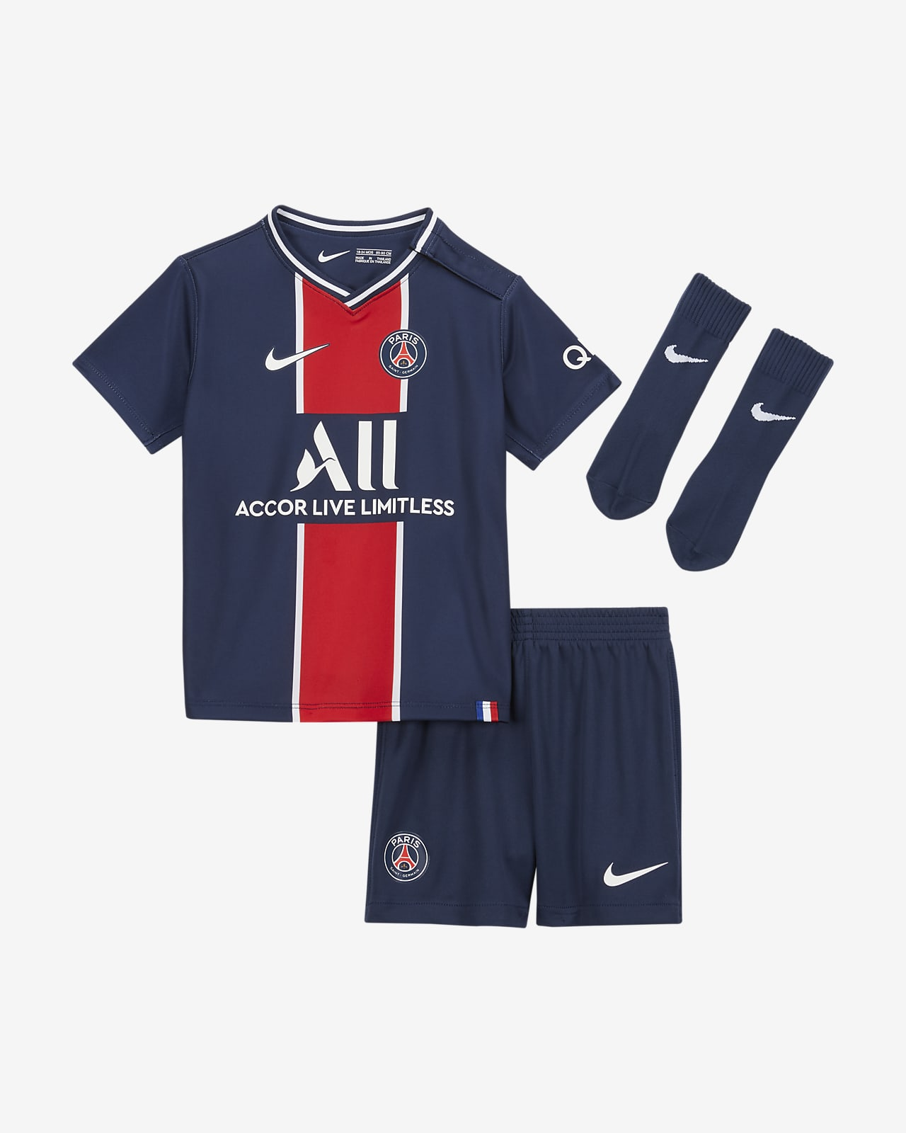 Divisa da calcio Paris Saint-Germain 2020/21 per neonati/bimbi piccoli - Home