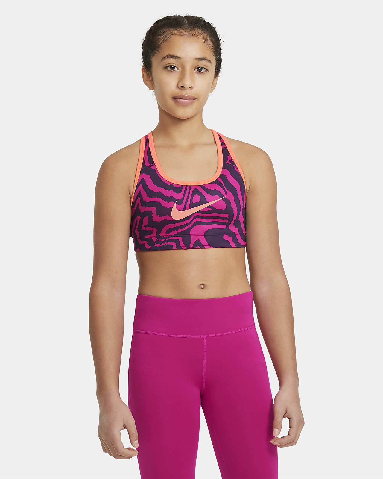 Nike Swoosh Big Kids' (Girls') Reversible Printed Sports Bra