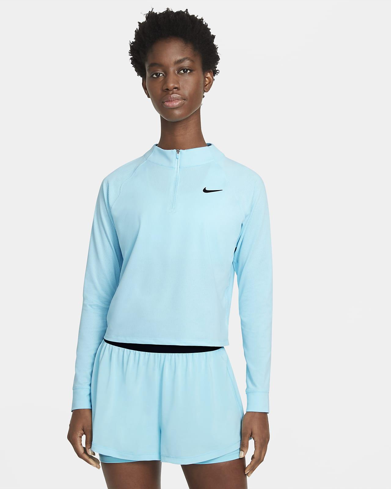 Maglia da tennis a manica lunga con zip a metà lunghezza NikeCourt Dri-FIT Victory - Donna