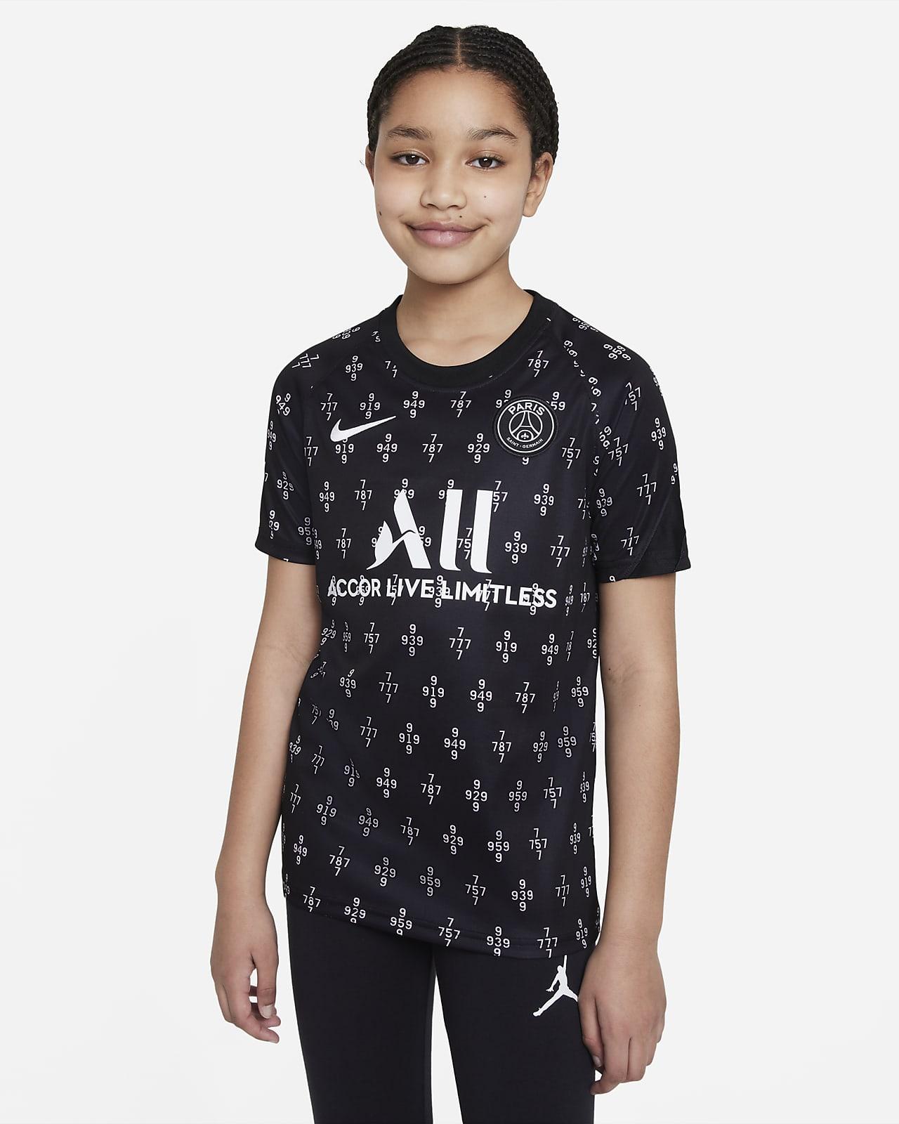 Camiseta de fútbol para antes del partido para niños talla grande Nike Dri-FIT Paris Saint-Germain de visitante