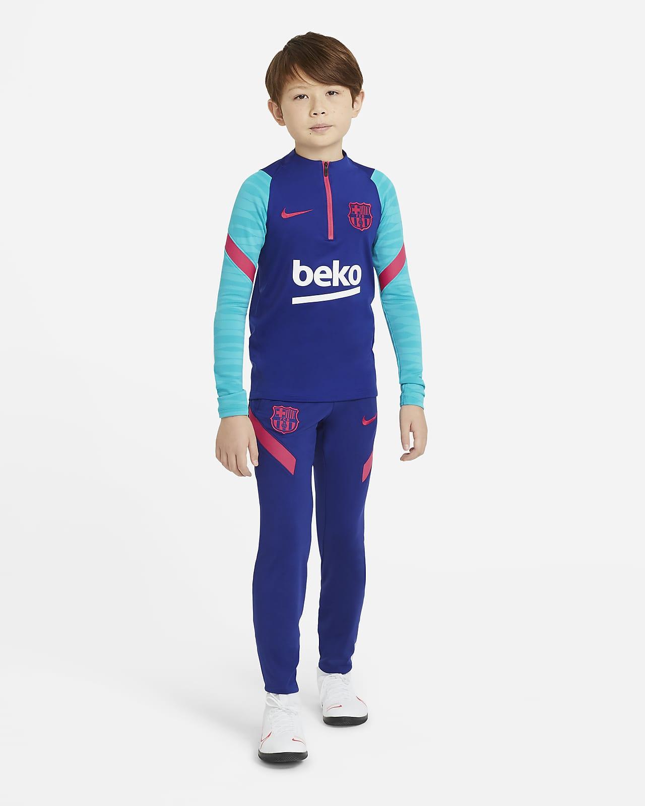 Pantalon de football en maille FC Barcelona Strike pour Enfant plus âgé