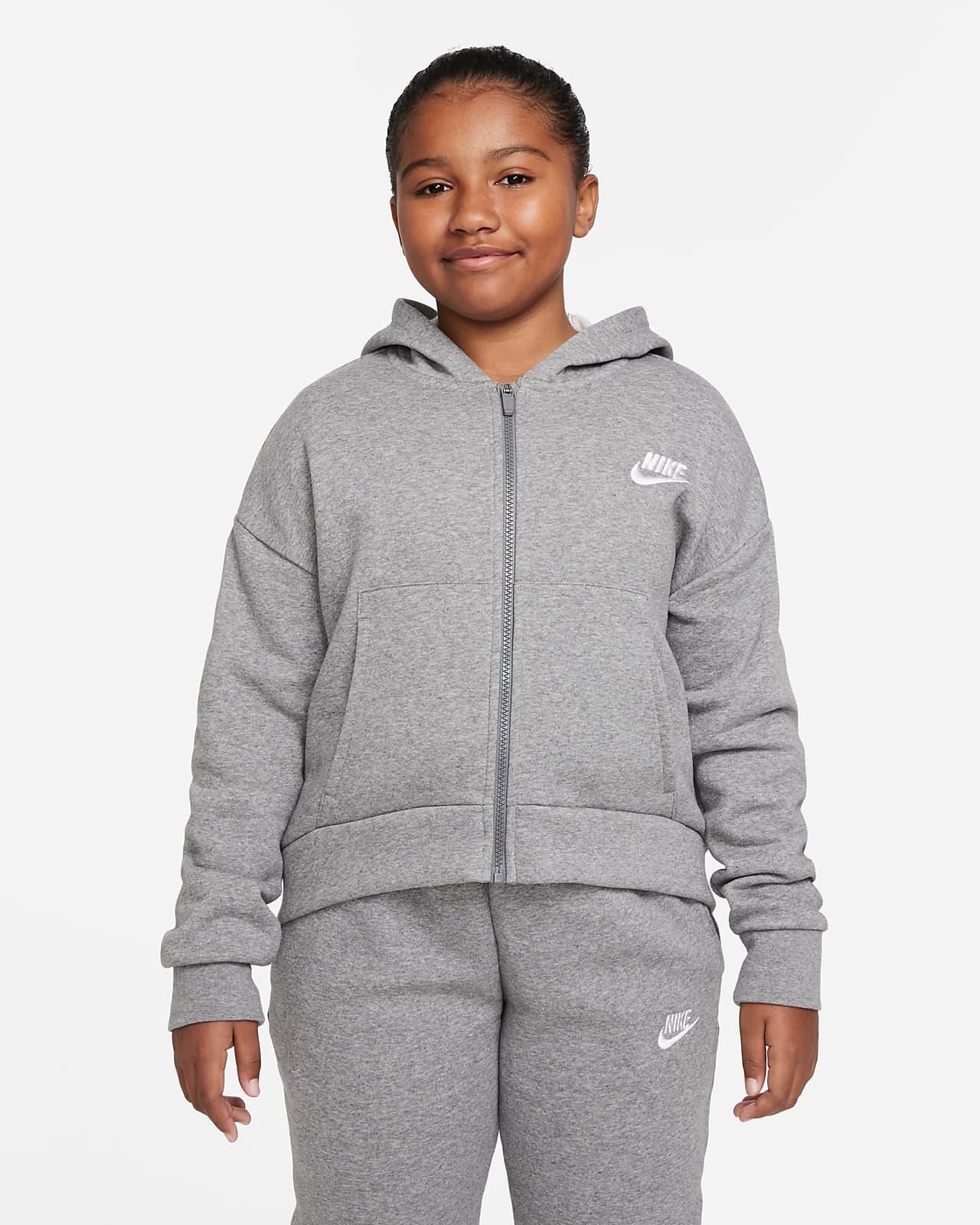 Hoodie com fecho completo Nike Sportswear Club Fleece Júnior (Rapariga) (tamanhos grandes)