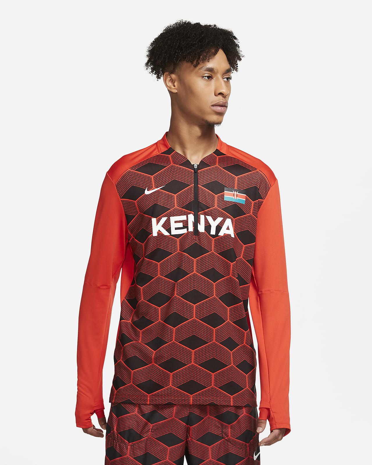 Pánská běžecká mikina Nike Dri-FIT Team Kenya spolovičním zipem