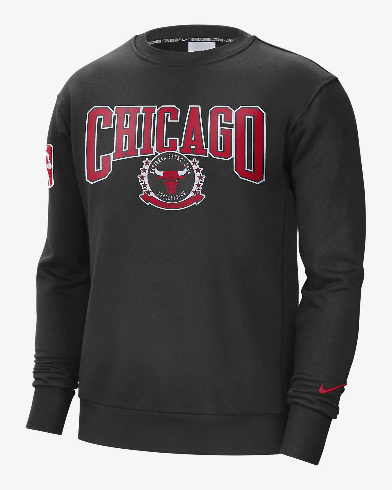 Chicago Bulls Courtside Nike NBA-fleeceshirt met ronde hals voor heren