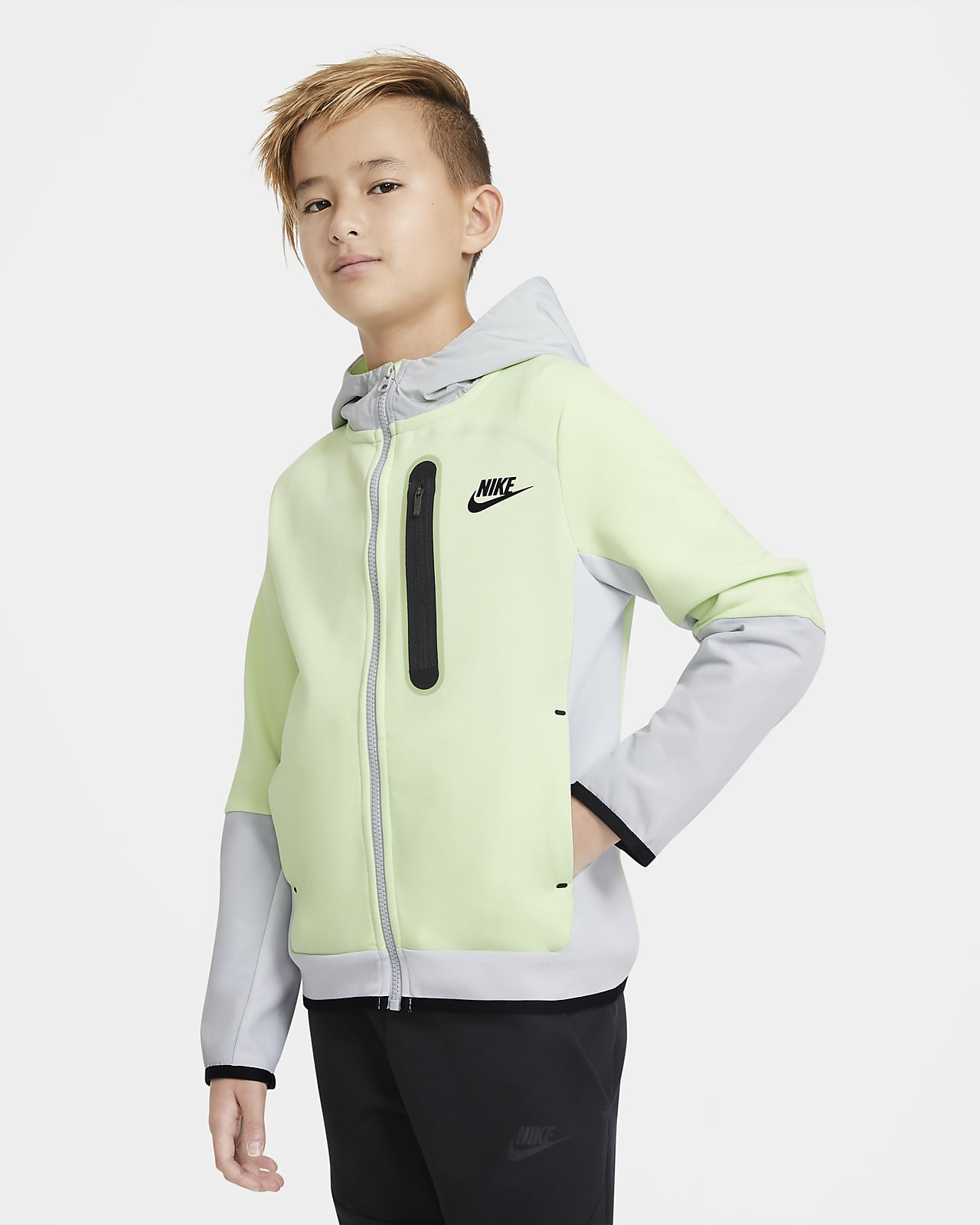 Nike Sportswear Tech Fleece hosszú cipzáras, szőtt kapucnis pulóver nagyobb gyerekeknek (fiúk)