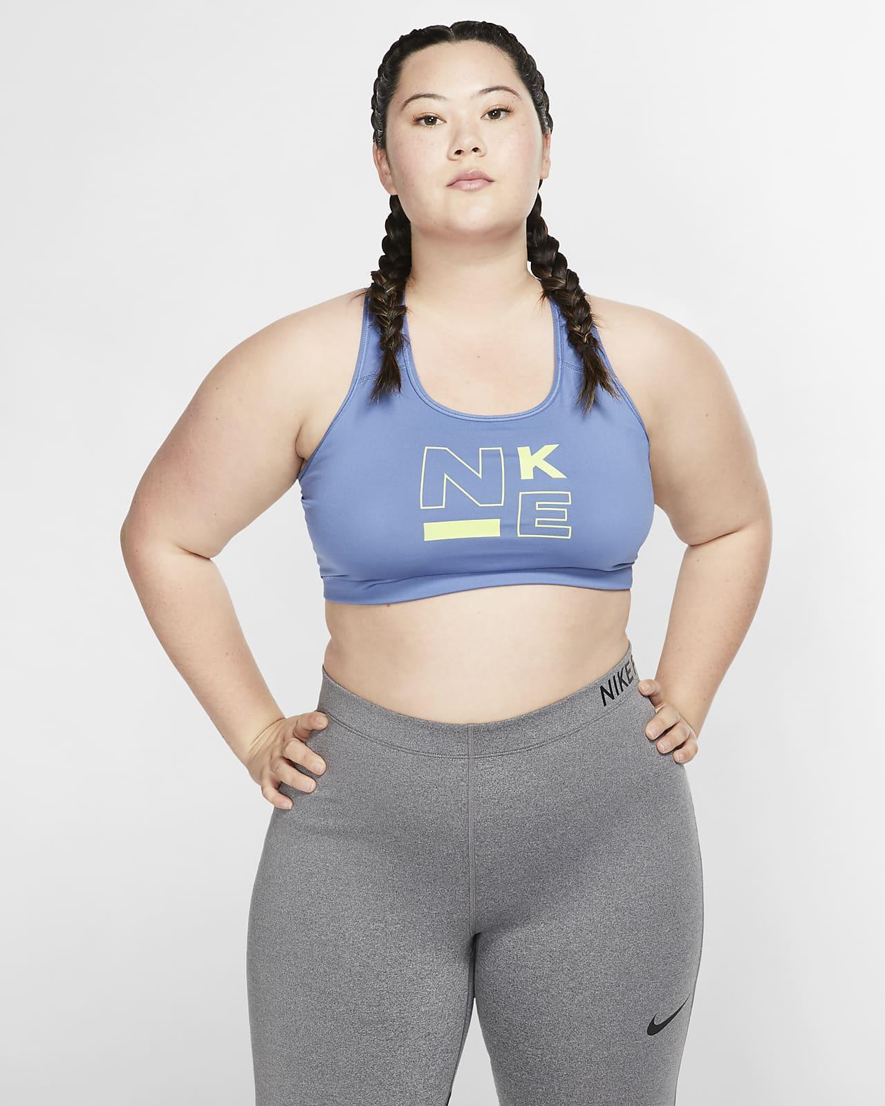 Sujetador deportivo de sujeción media para mujer Nike Swoosh (Talla grande)