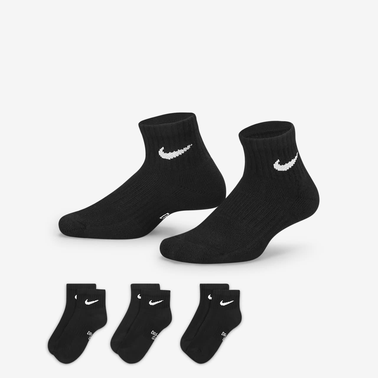 Nike Everyday ankelsokker med demping til store barn (3 par)