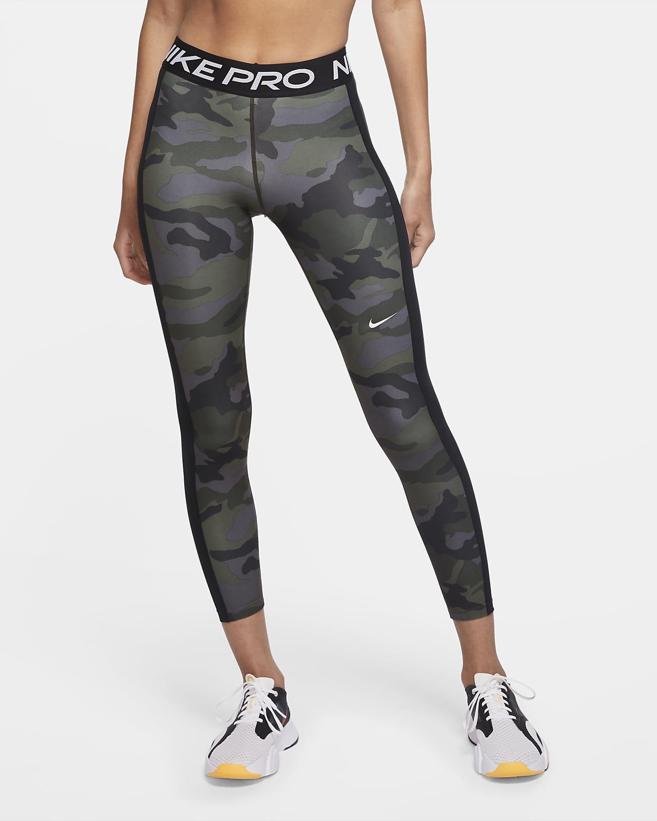 Kamouflagemönstrade tights Nike Pro i 7/8-längd för kvinnor