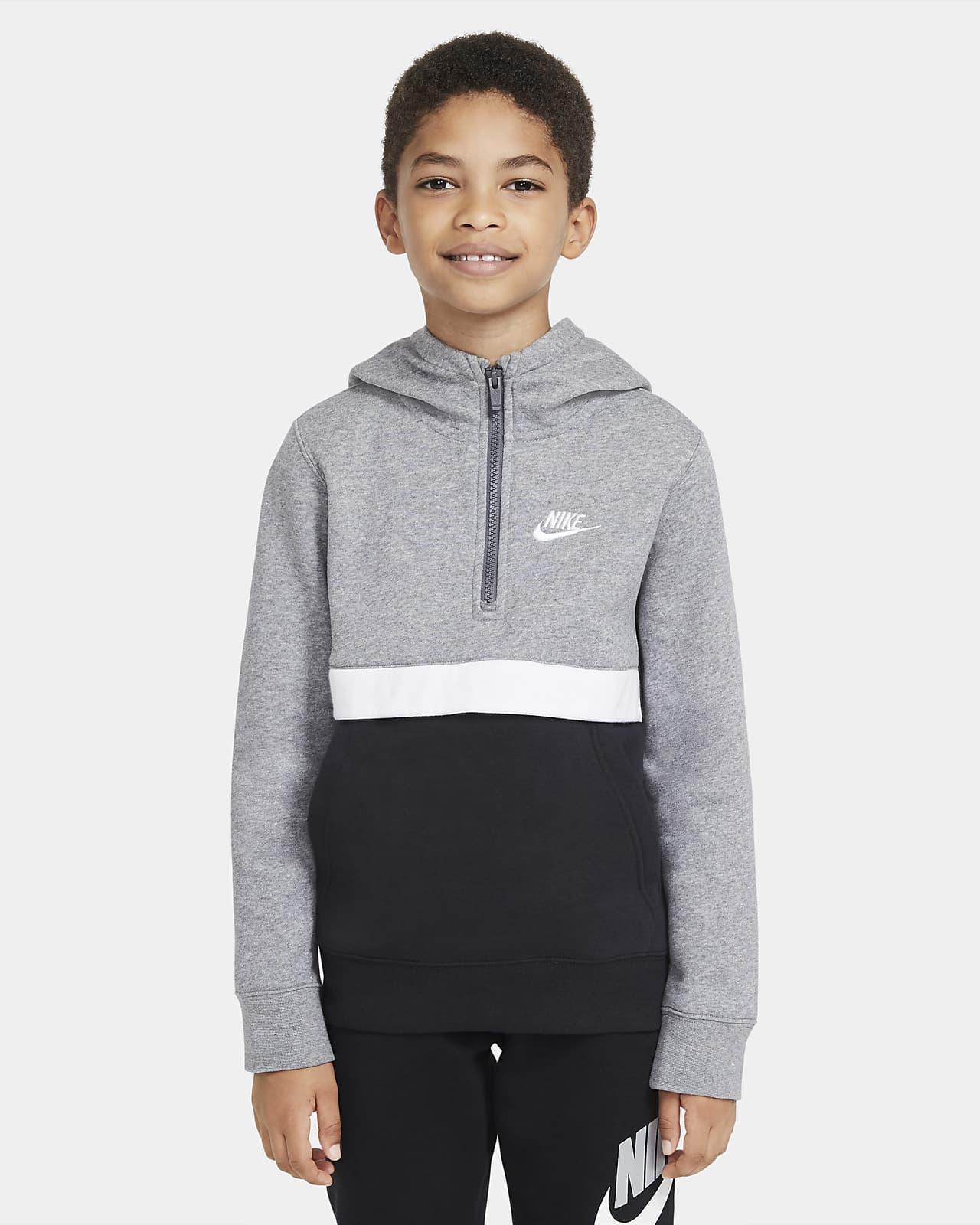 Nike Sportswear Club-hættetrøje med lynlås i halv længde til store børn (drenge)