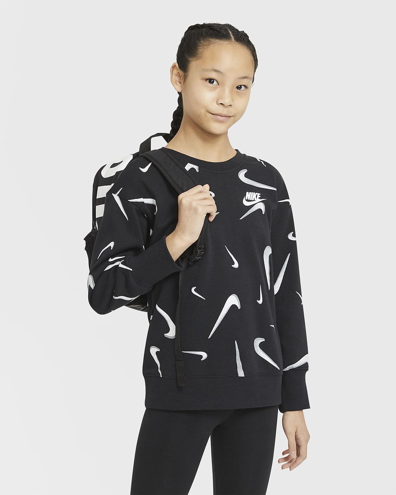 Sudadera de cuello redondo con estampado de French Terry para niña talla grande Nike Sportswear