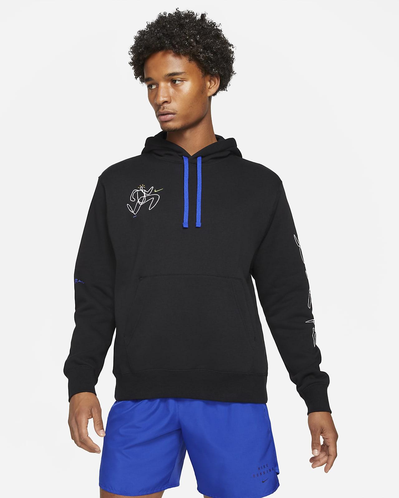 Pánská flísová běžecká mikina skapucí Nike Hackney Club