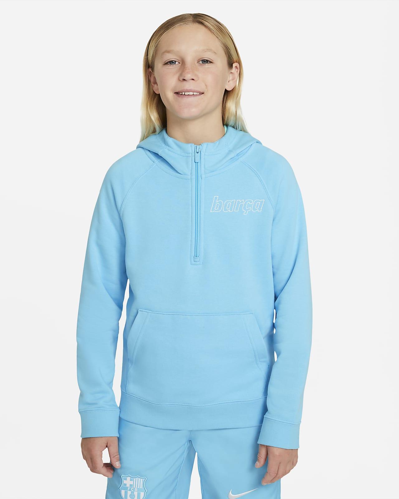 Sudadera con gorro de medio cierre para niños talla grande Nike Sportswear FC Barcelona