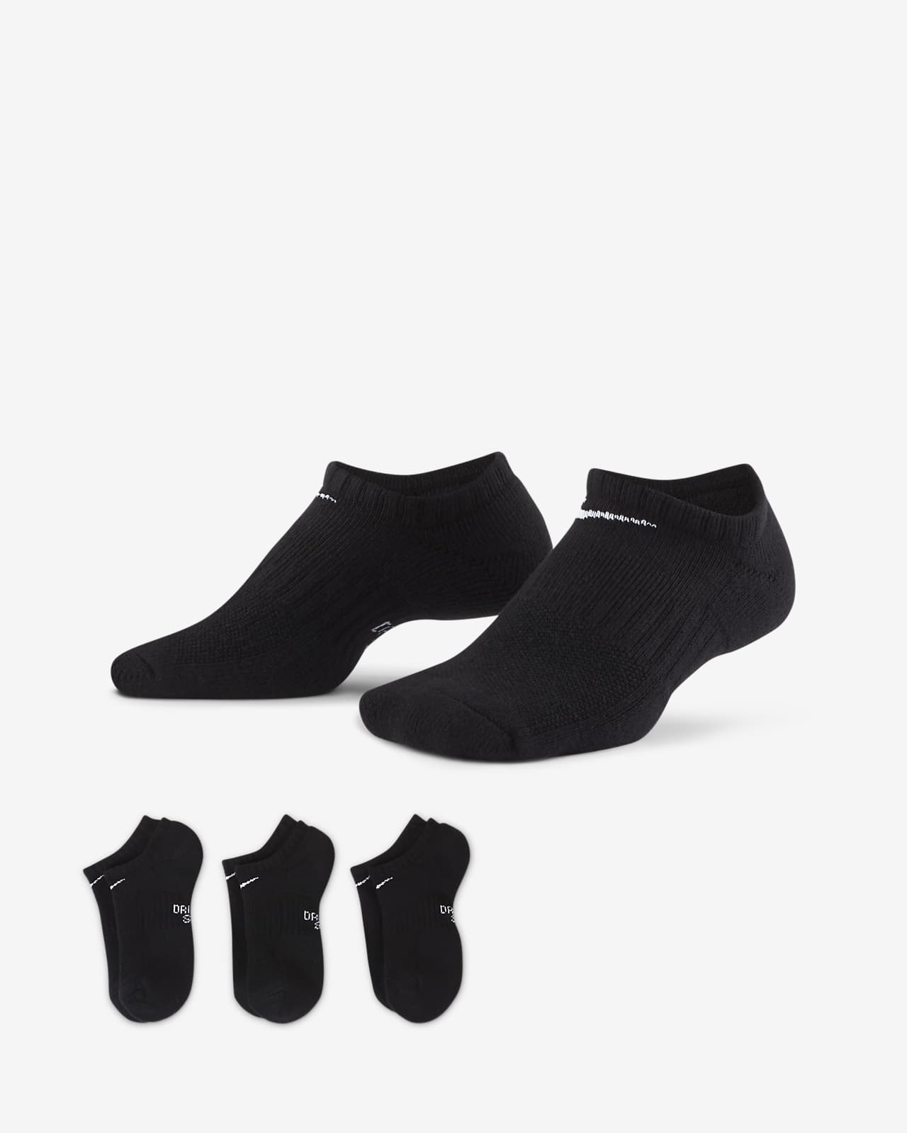 Chaussettes invisibles avec amorti Nike Everyday pour Enfant plus âgé (3 paires)