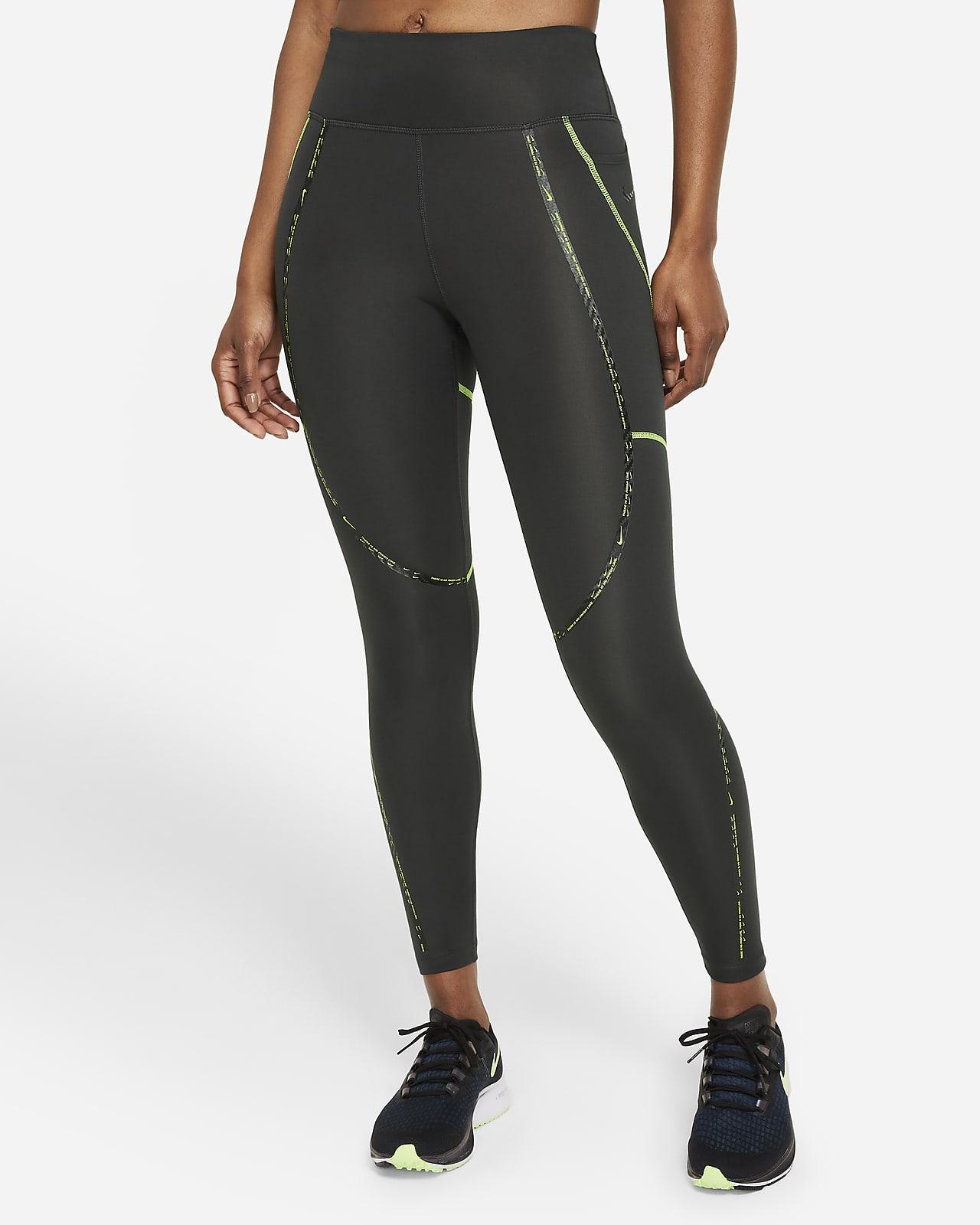 Dámské 7/8 běžecké legíny Nike Epic Faster sestředně vysokým pasem apáskami