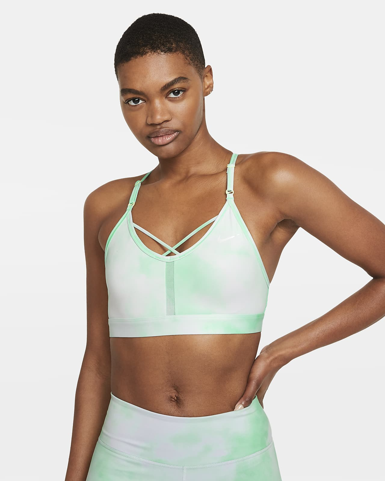 Brassière de sport rembourrée à maintien léger et bretelles Nike Dri-FIT Indy Icon Clash pour Femme