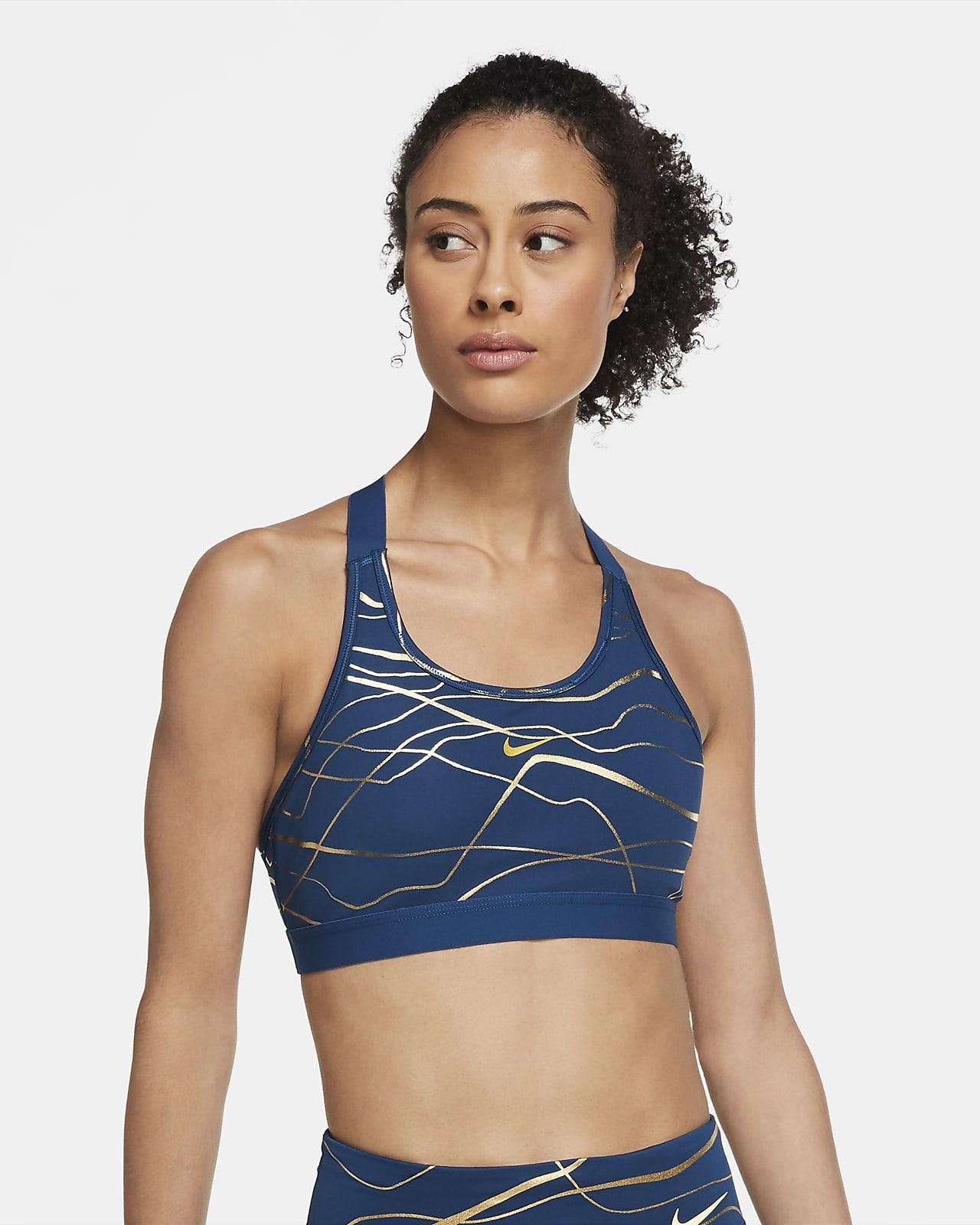 Sutiã de desporto de suporte médio estampado Nike Swoosh Icon Clash para mulher