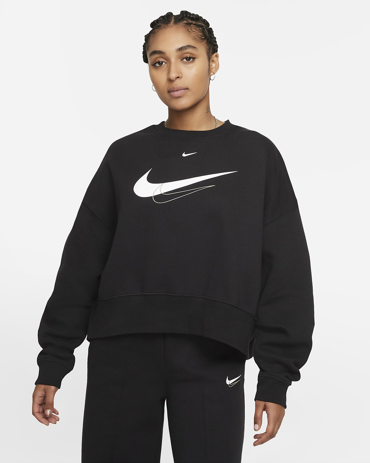 Sweatshirt recortada de lã cardada Nike Sportswear para mulher