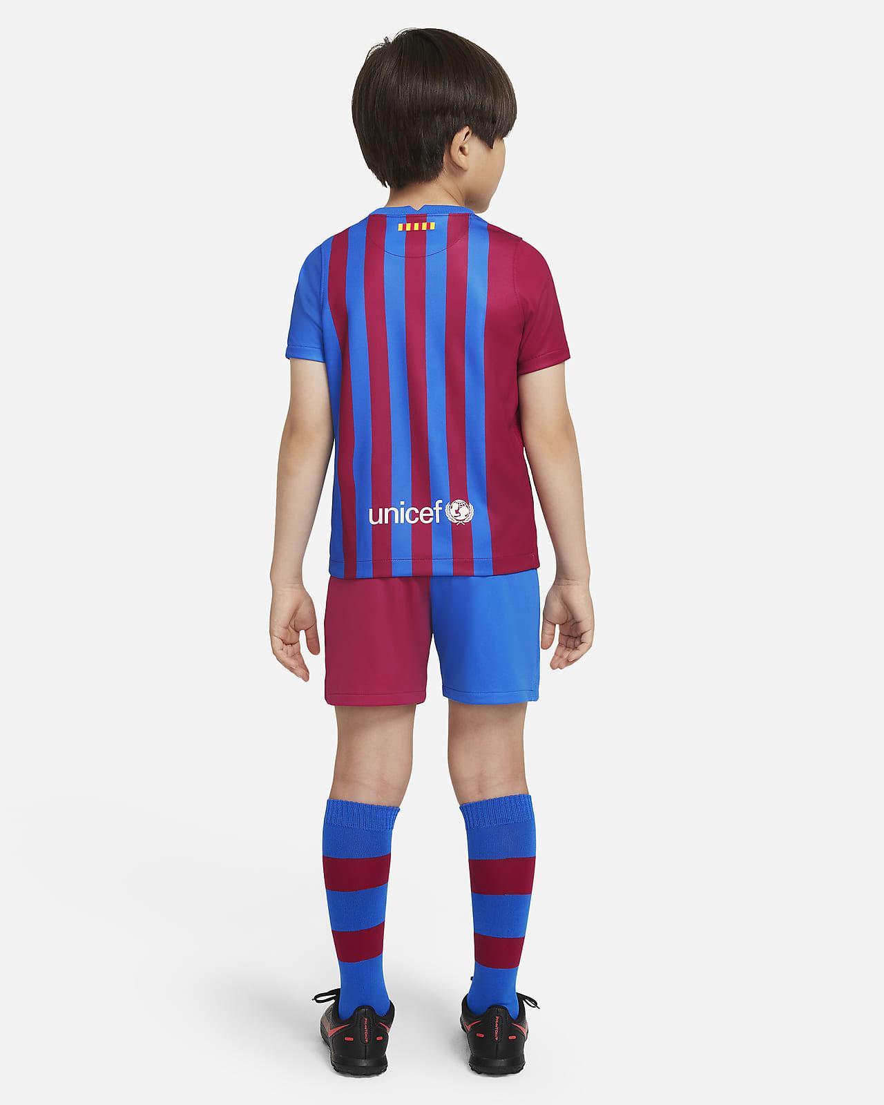 F C Barcelona 2021 22 Home Younger Kids Football Kit Nike Lu