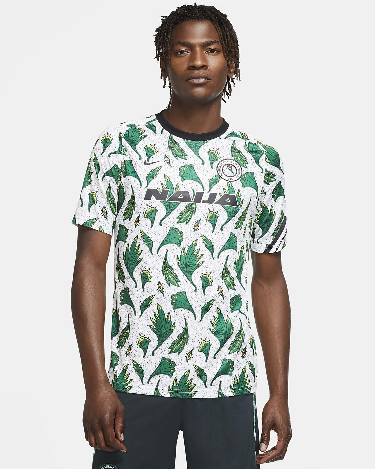 Nigéria mérkőzés előtti rövid ujjú férfi futballfelső