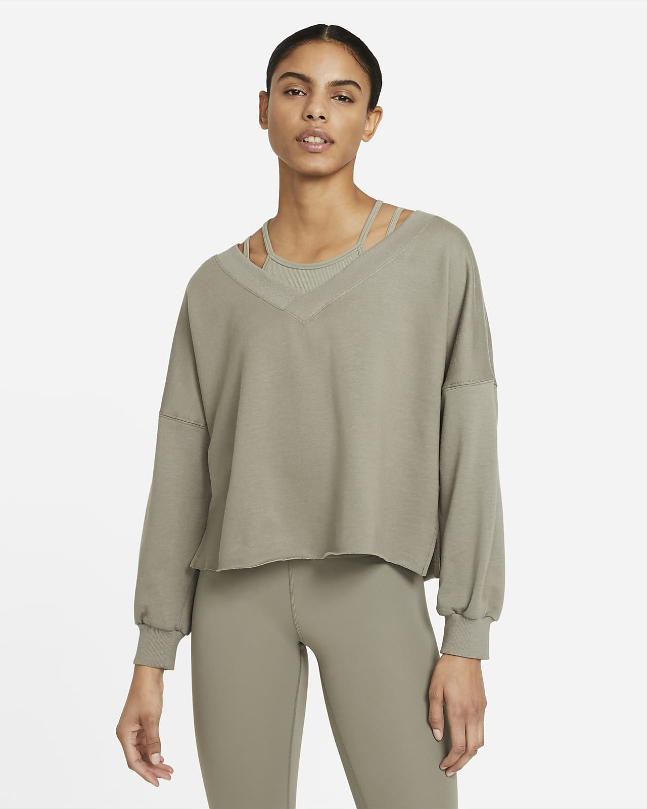 Camiseta con cuello en V de tejido Fleece para mujer Nike Yoga Luxe