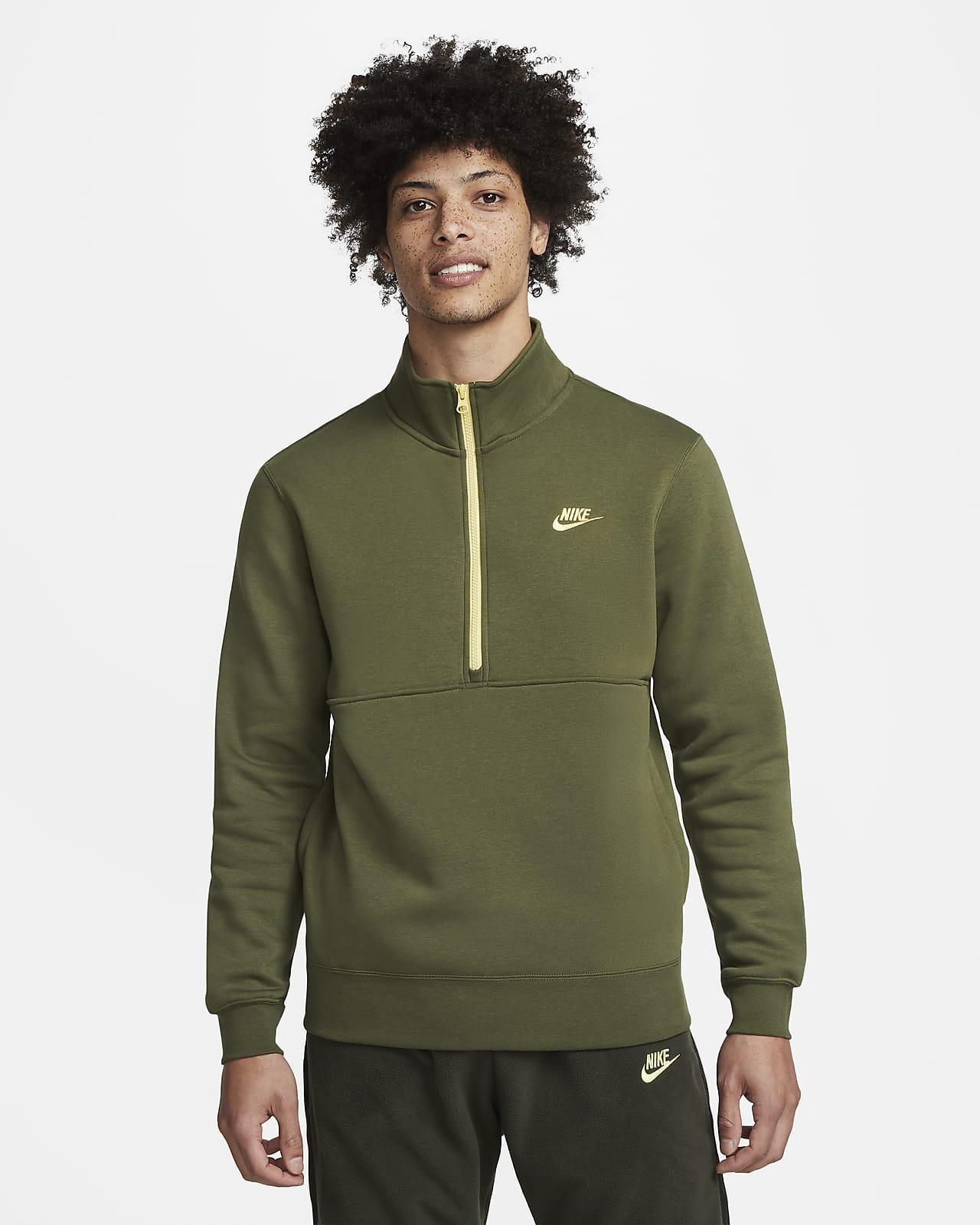 Nike Sportswear Club Herren-Pullover mit angerautem Material und Halbreißverschluss
