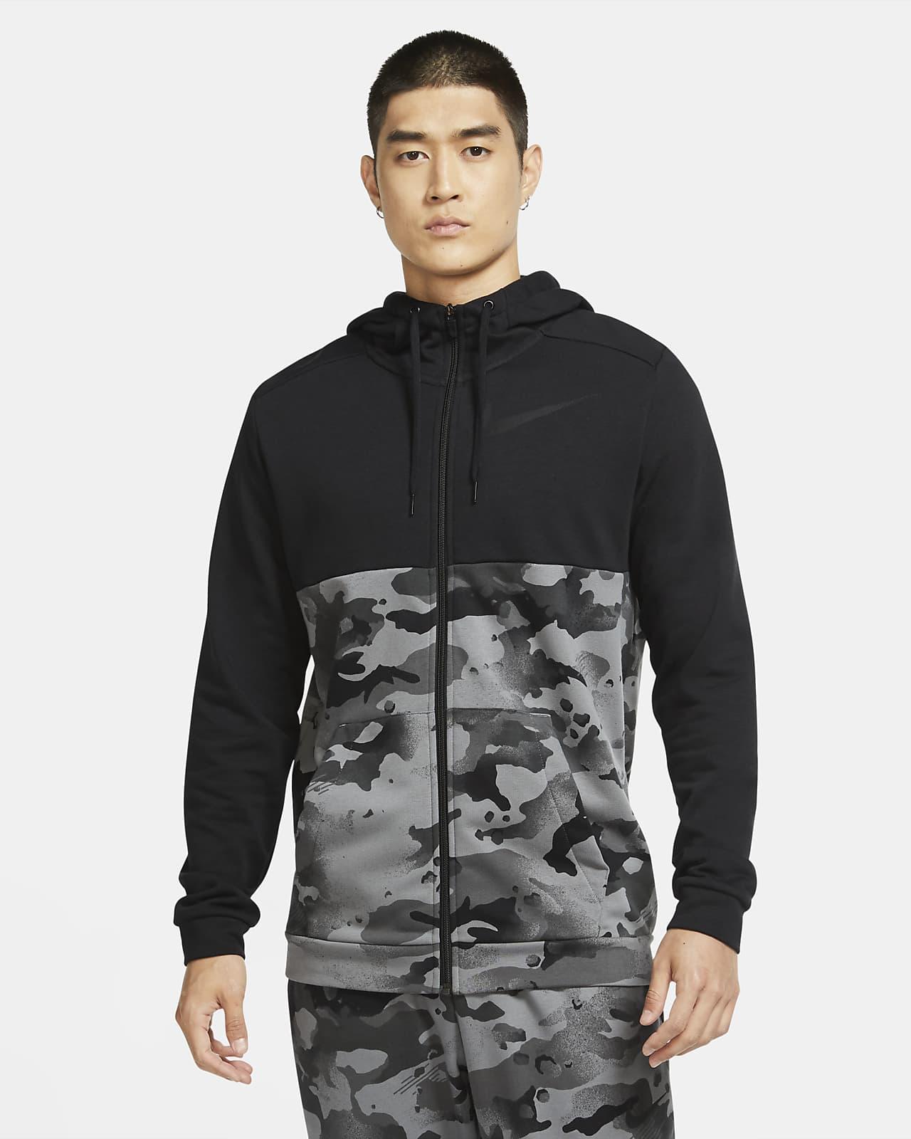 Träningshuvtröja med hel dragkedja Nike Dri-FIT med kamouflagetryck för män