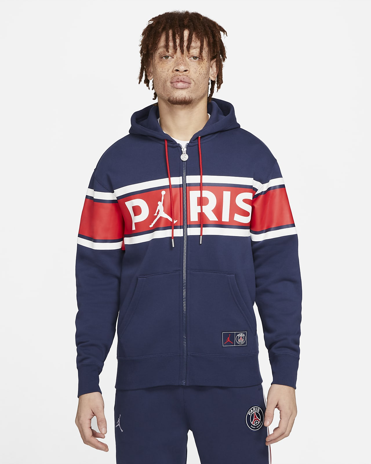 Felpa in fleece con cappuccio e zip a tutta lunghezza Paris Saint-Germain - Uomo
