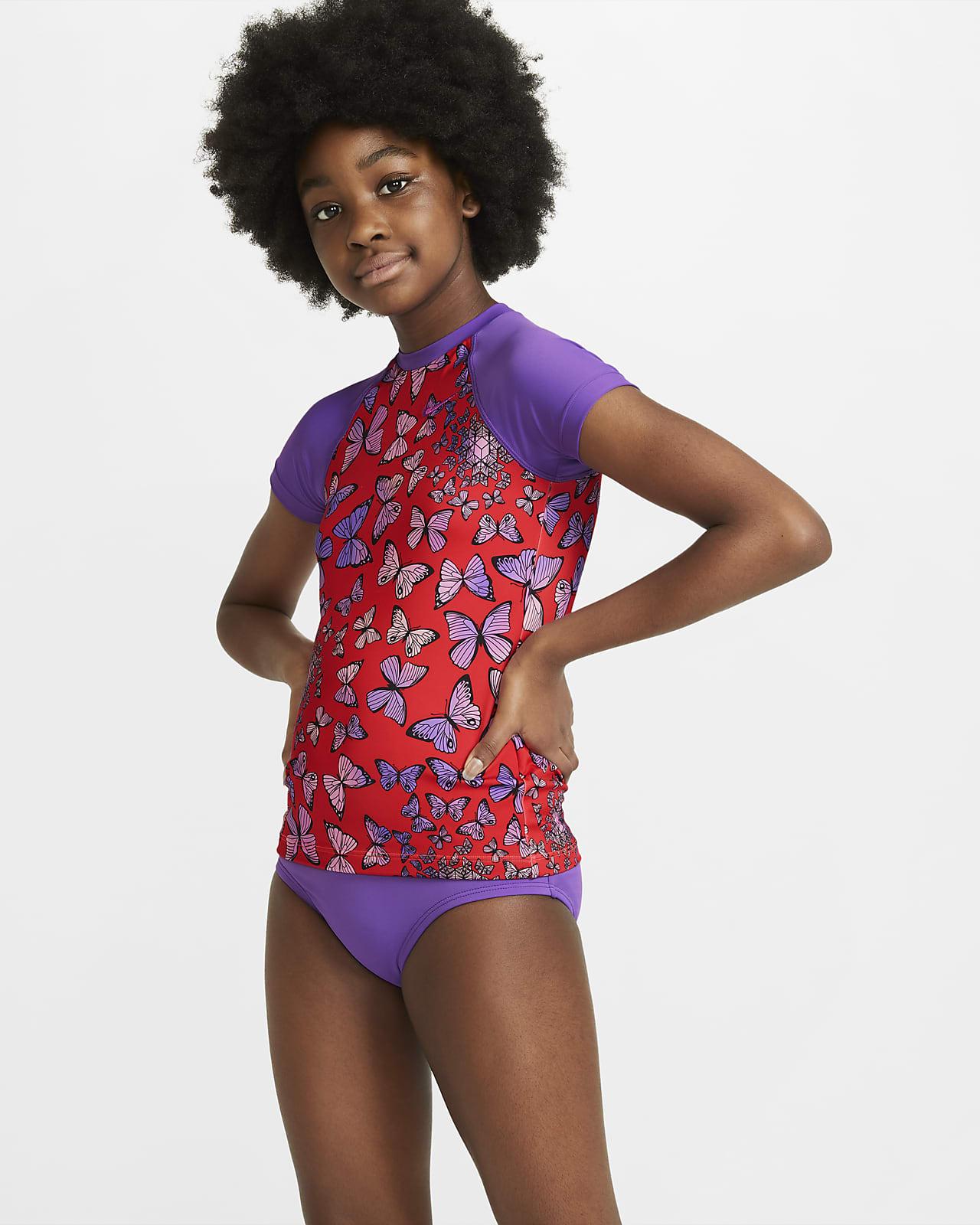 Nike Big Kids' (Girls') Short-Sleeve 2-Piece Swim Set