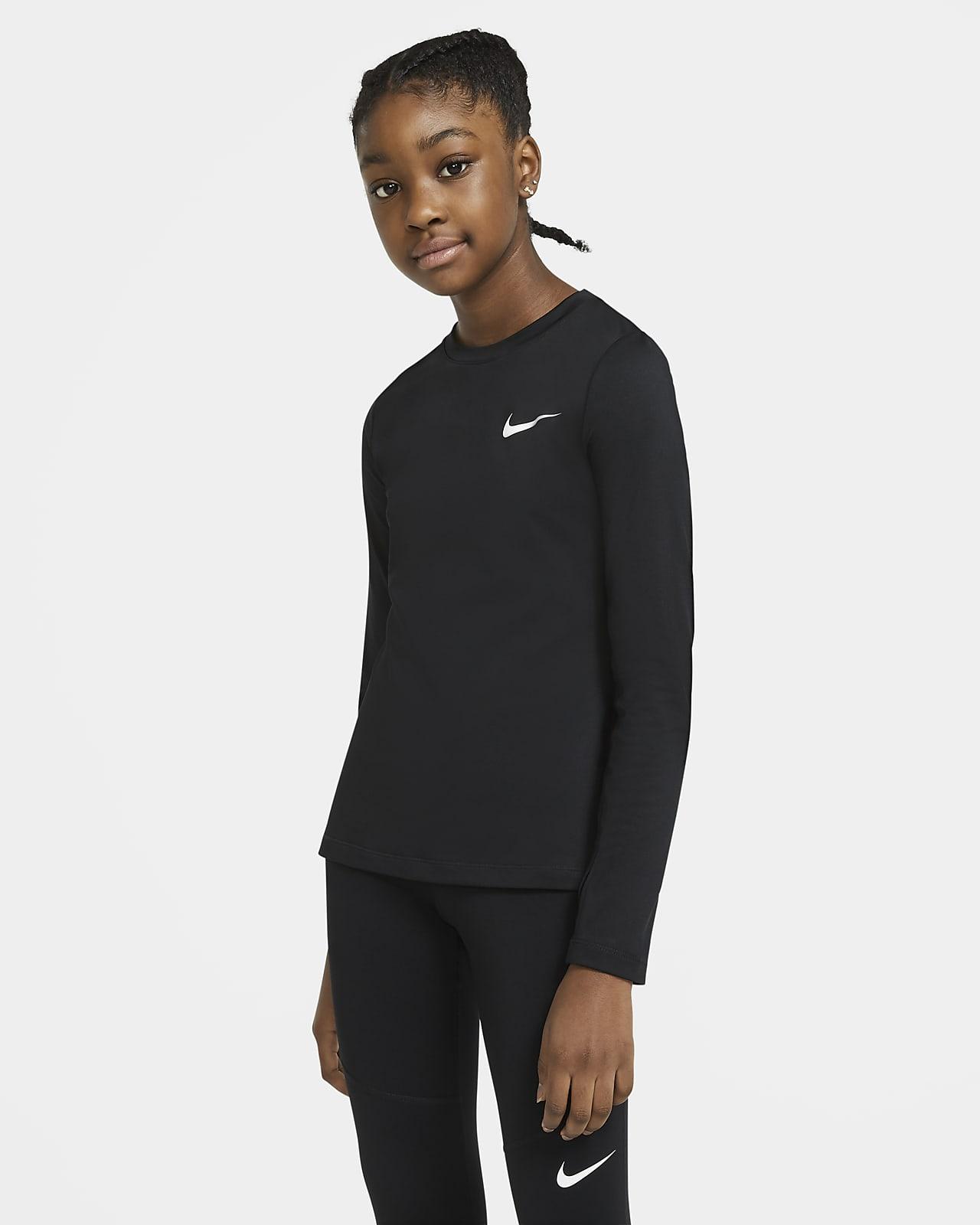 Nike Pro Warm – langærmet overdel til store børn (piger)
