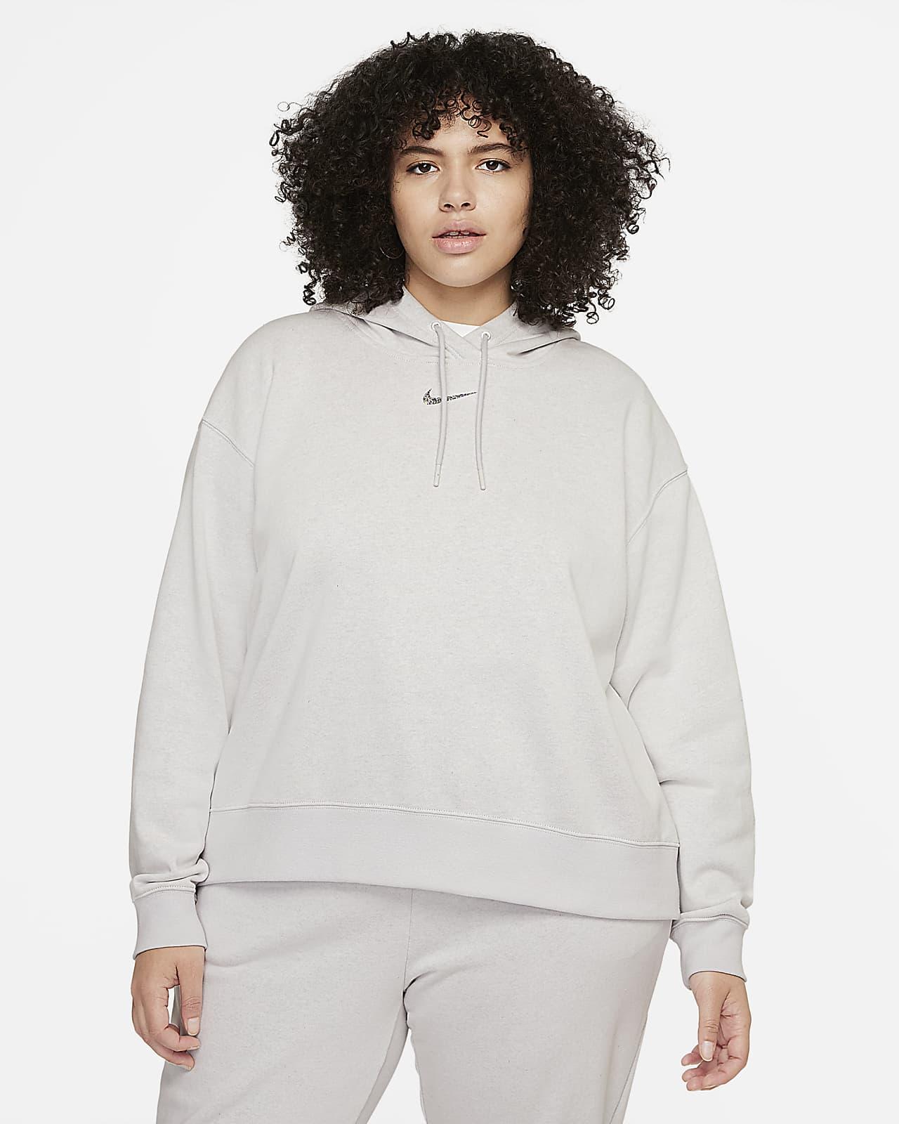 Sudadera con gorro de tejido Fleece sencillo para mujer talla grande Nike Sportswear Collection Essential