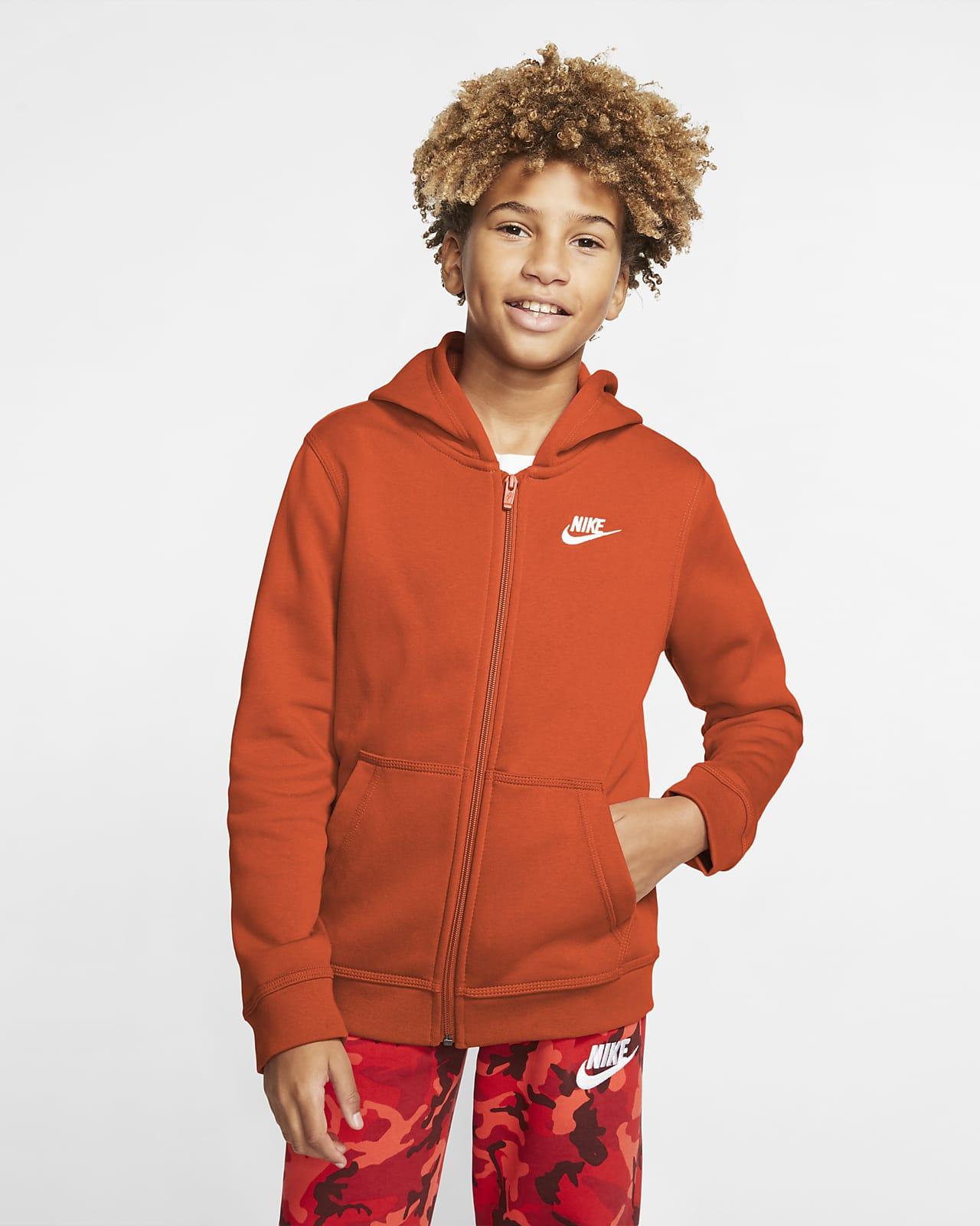 Nike Sportswear Club hettejakke med hel glidelås til store barn