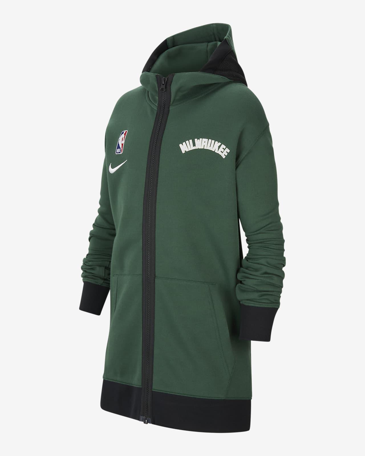 Bluza z kapturem dla dużych dzieci NBA Nike Therma Flex Milwaukee Bucks Showtime