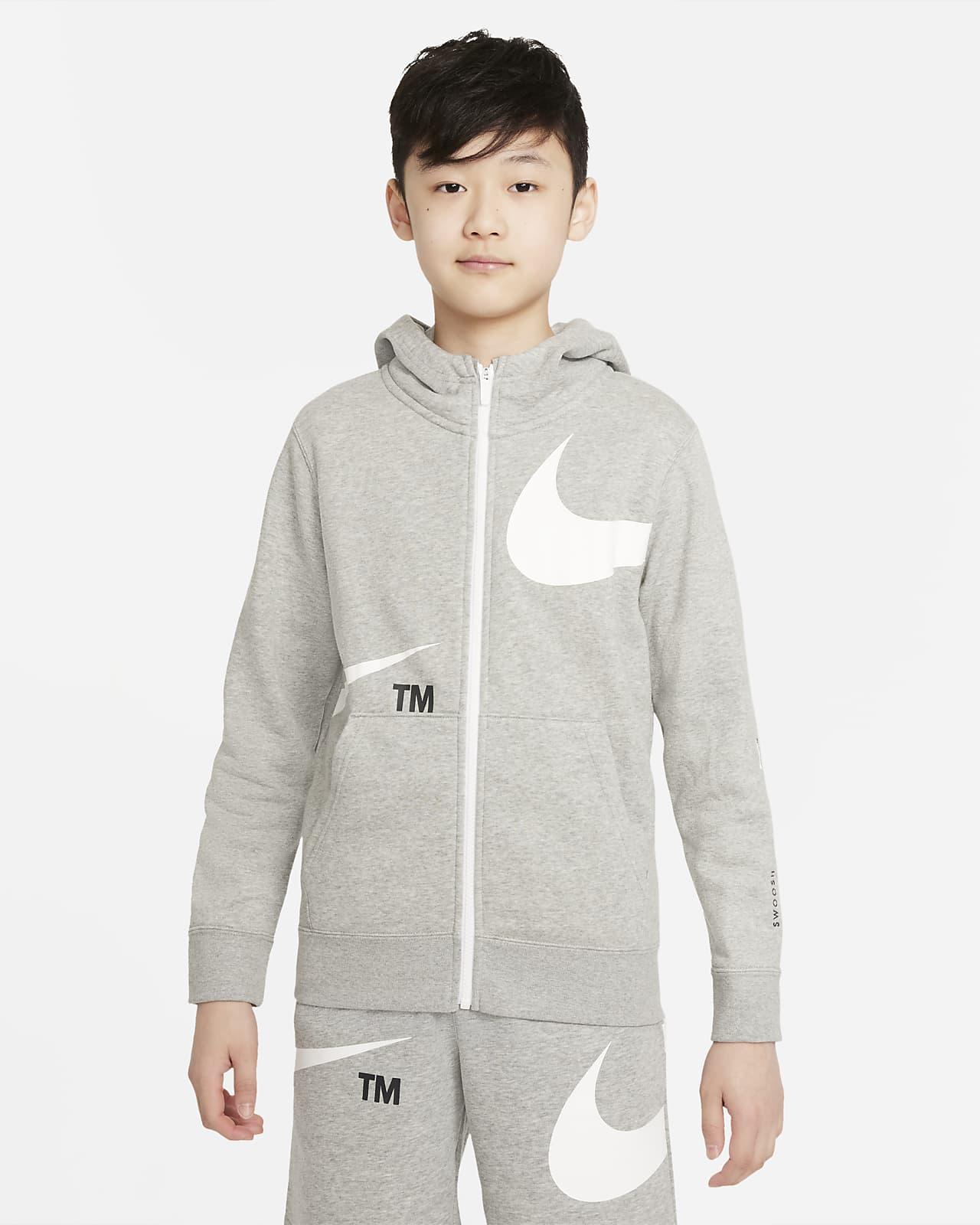 Флисовая худи с молнией во всю длину для мальчиков школьного возраста Nike Sportswear Swoosh
