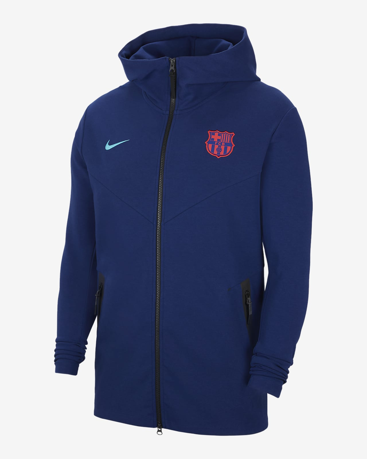 FC Barcelona Tech Pack hosszú cipzáras, kapucnis férfipulóver