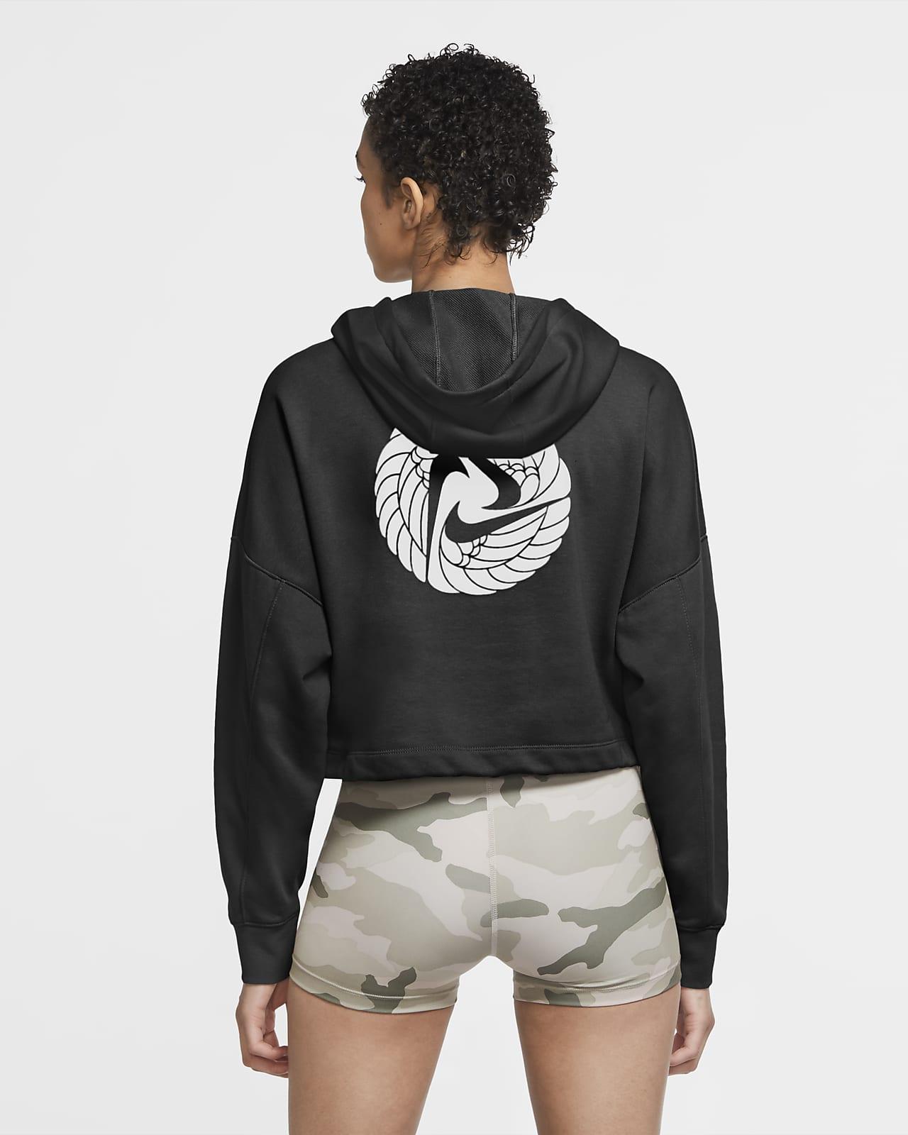 Γυναικεία μπλούζα προπόνησης σε κοντό μήκος με κουκούλα Nike Dri-FIT Icon Clash