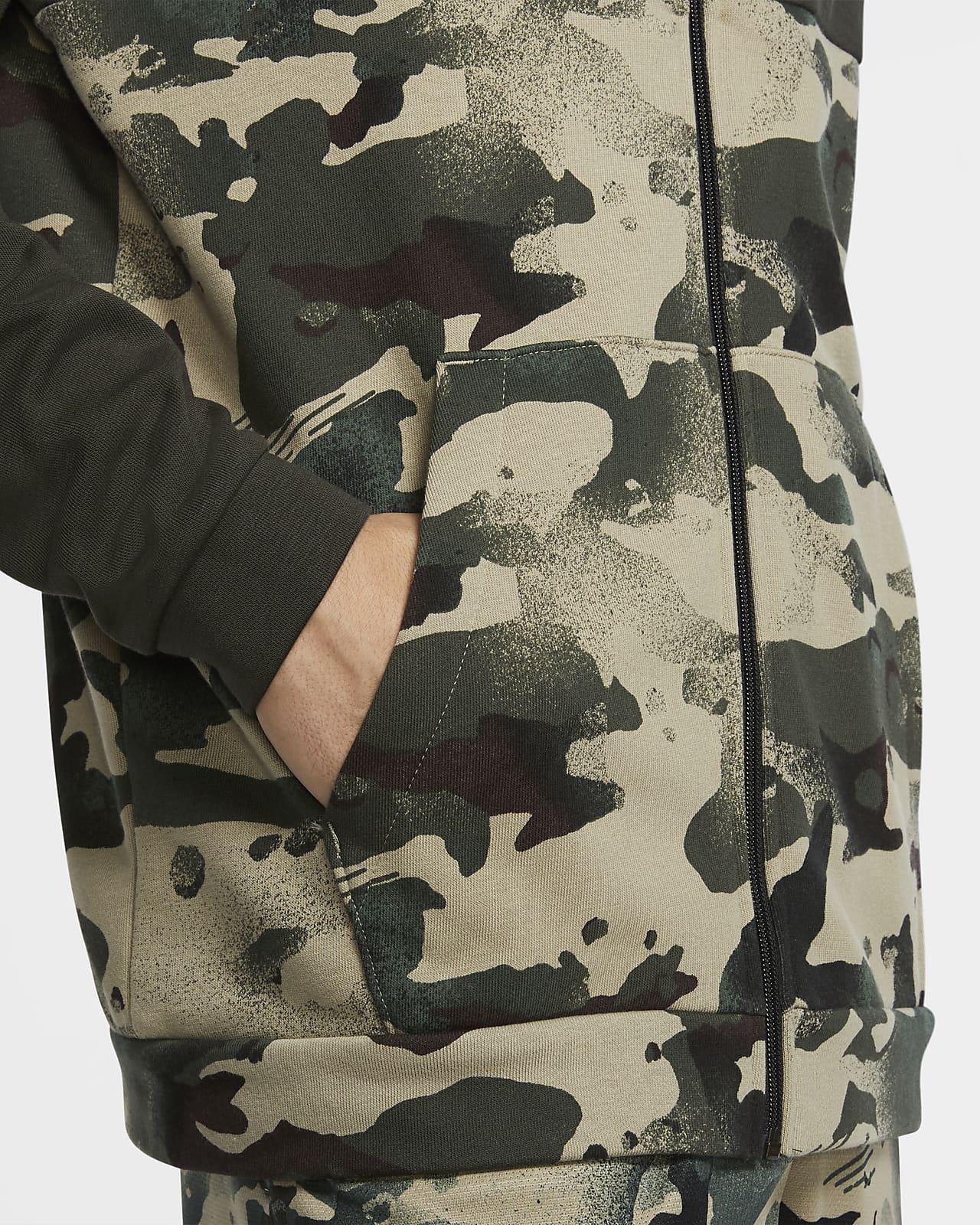 Sweat à capuche de training camouflage entièrement zippé Nike Dri FIT pour Homme