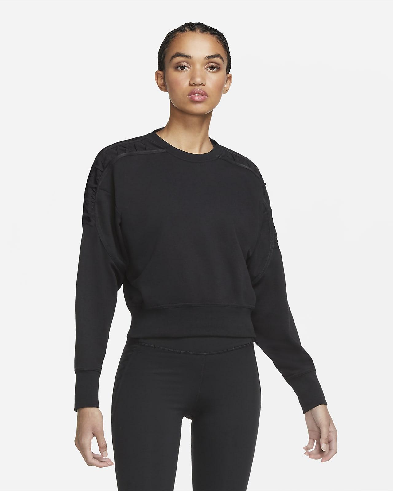 Nike verkürztes Fleece-Trainingsrundhalsshirt mit Spitze für Damen