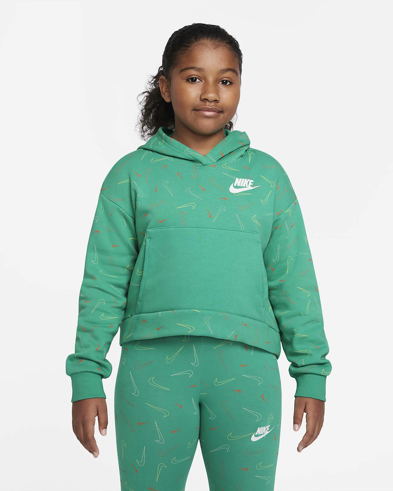 Nike Sportswear Big Kids' (Girls') Printed Fleece Hoodie (Extended Size)