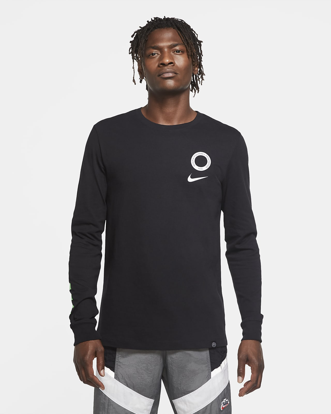 Nigeria Men's Long-Sleeve Football T-Shirt