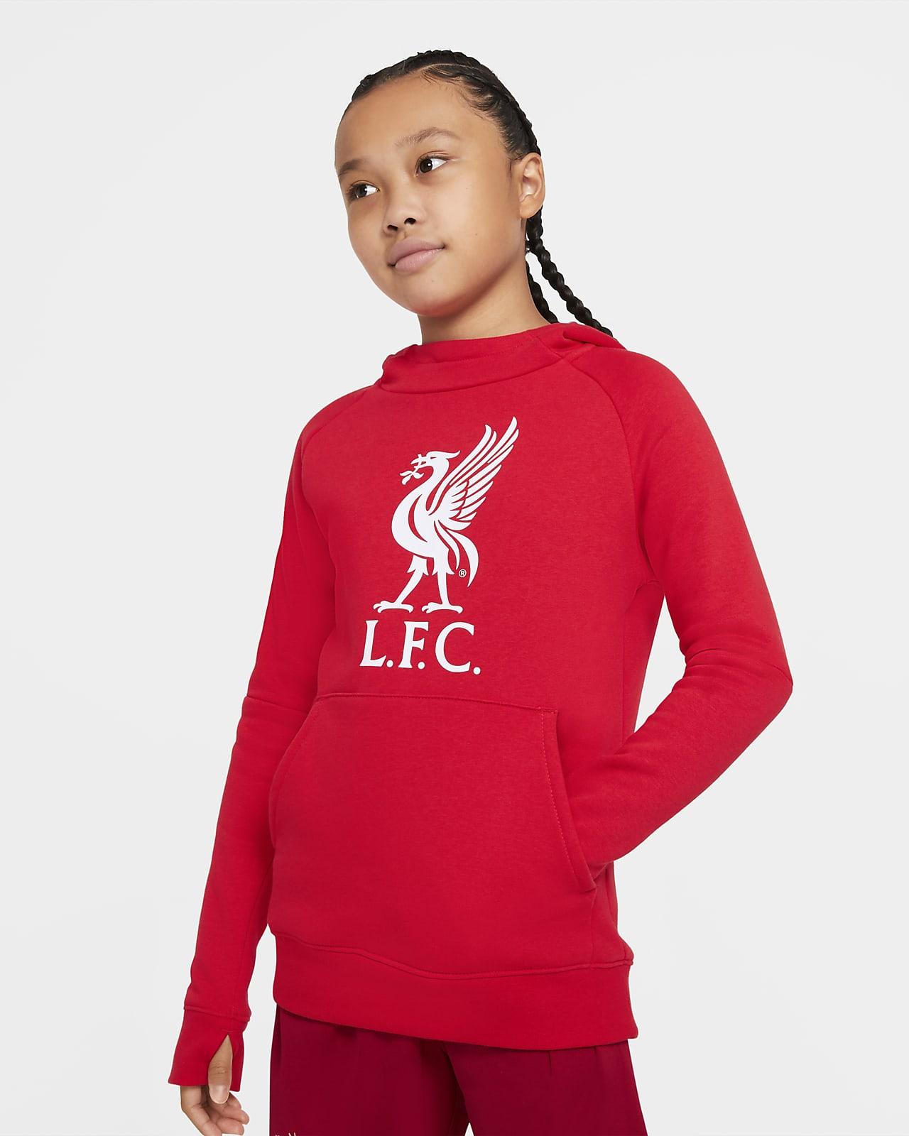 Sudadera de fútbol con capucha sin cierre de tejido Fleece para niños talla grande Liverpool FC