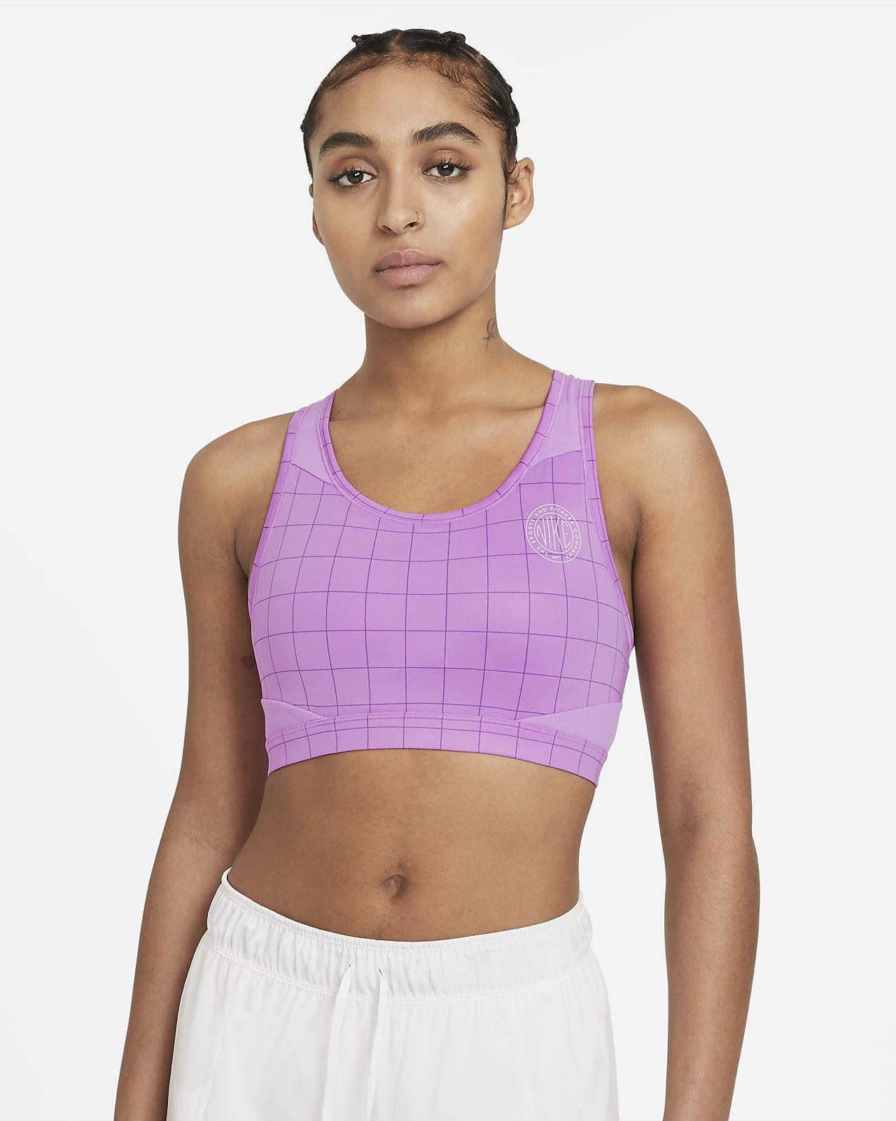 Спортивное бра с цельным вкладышем, принтом и средней поддержкой Nike Swoosh Femme