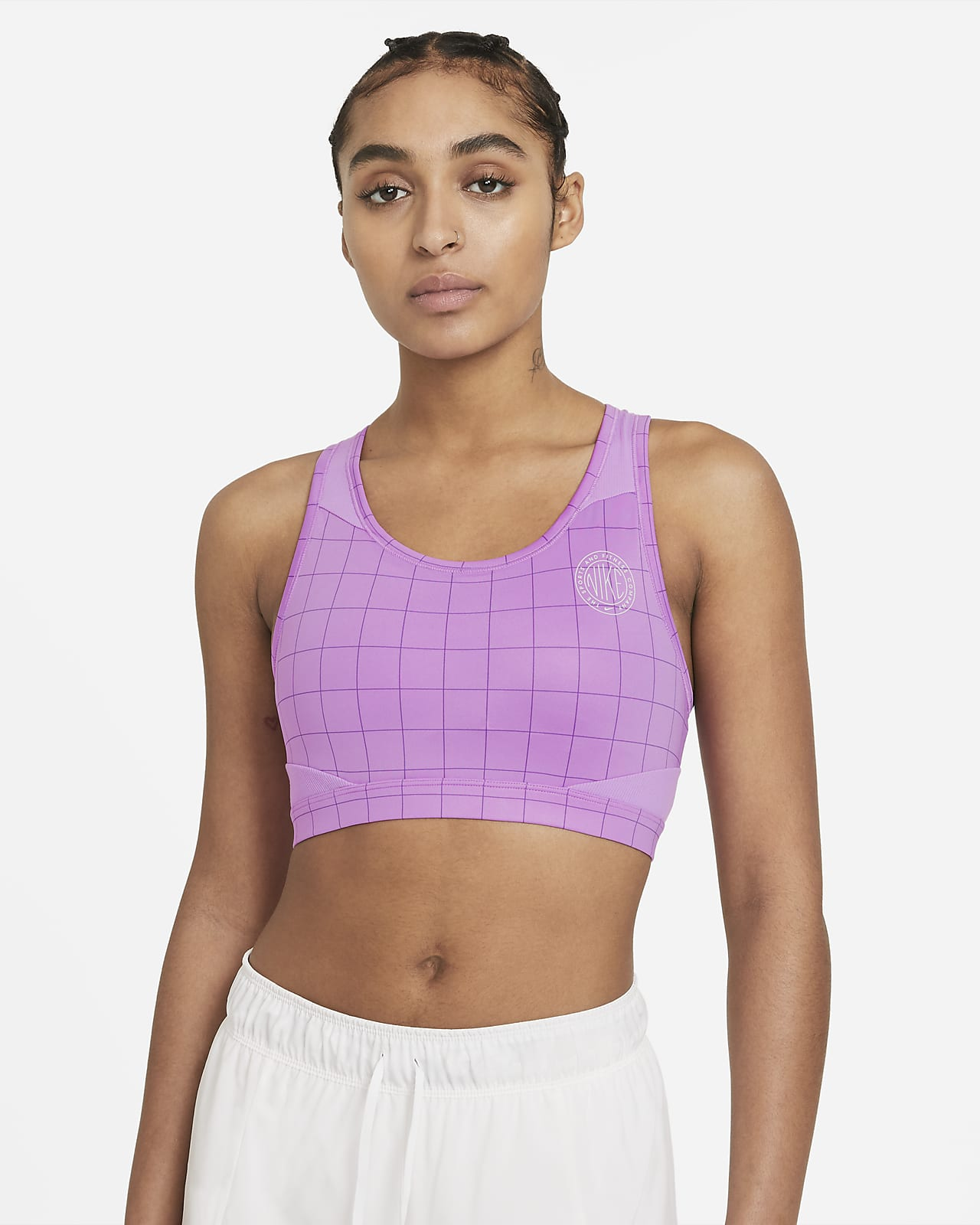 Nike Swoosh Femme Sport-bh met print, medium ondersteuning en pad uit één stuk