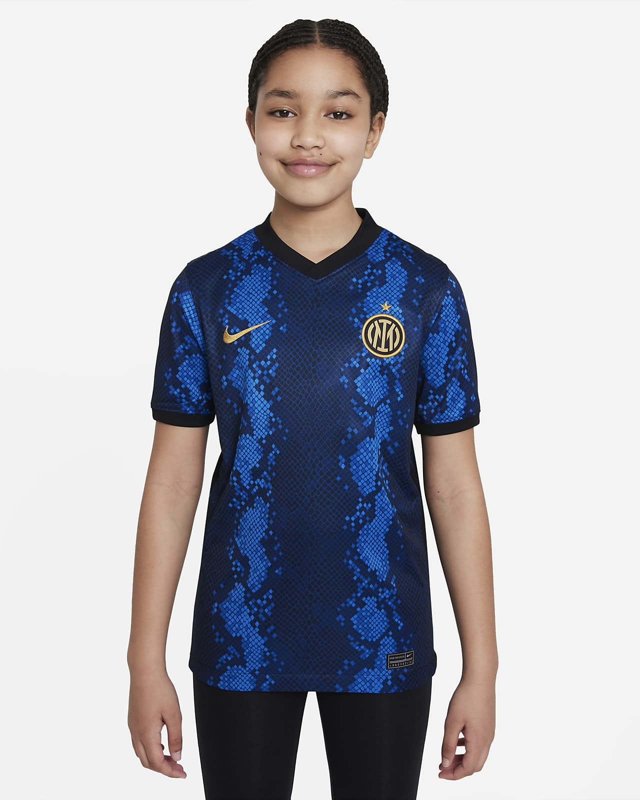 Inter Milan 2021/22 Stadium Home Big Kids' Nike Dri-FIT Soccer Jersey