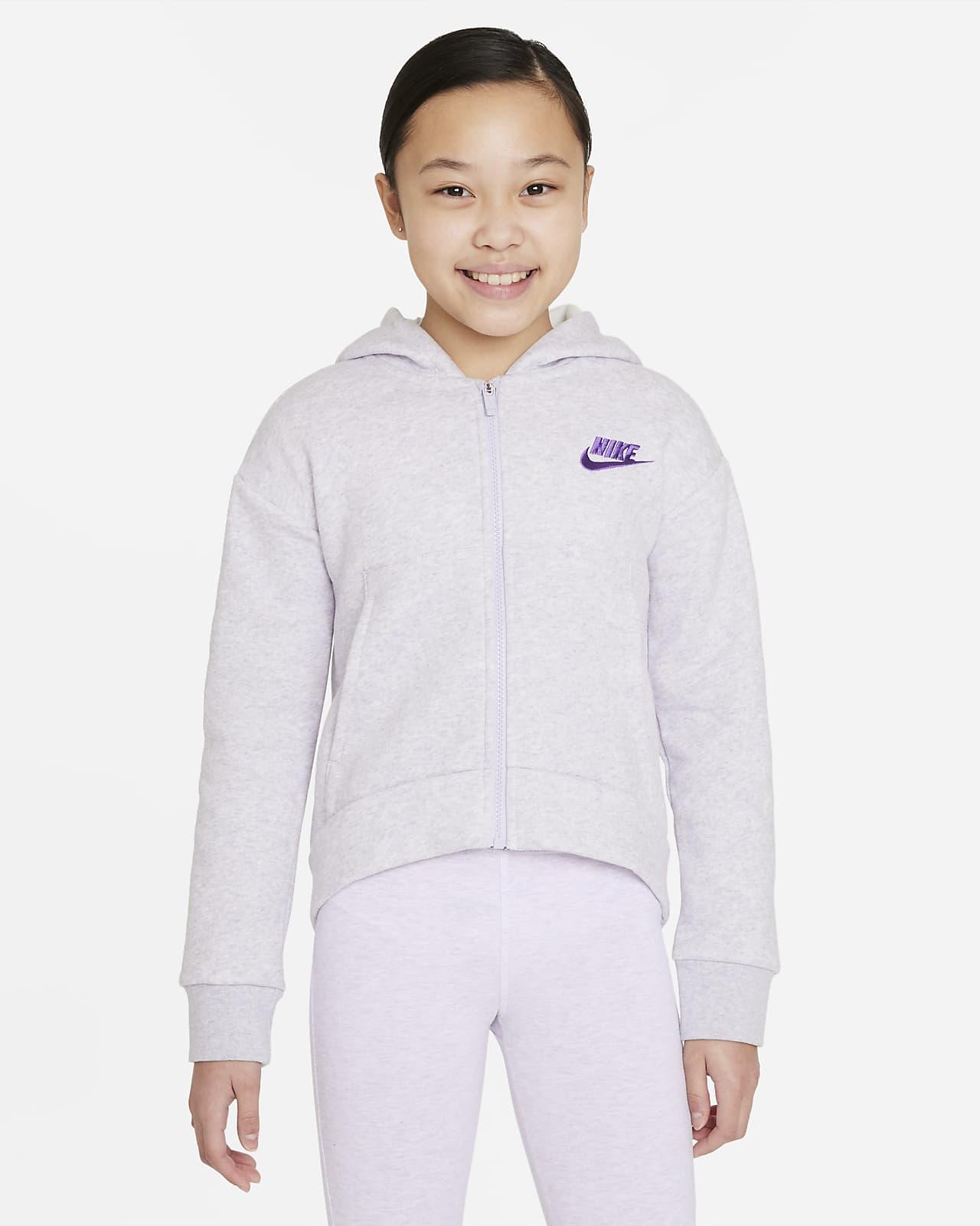 Sudadera con capucha de cierre completo para niñas talla grande Nike Sportswear Club Fleece